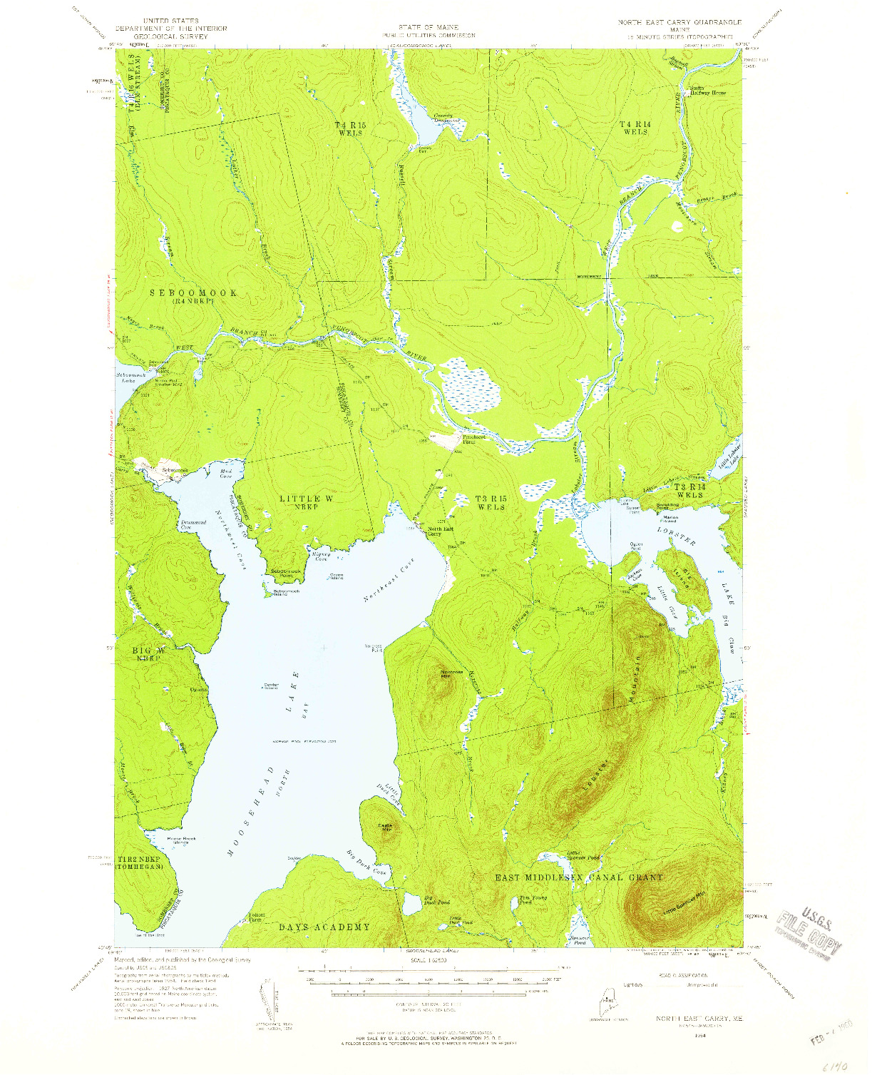 USGS 1:62500-SCALE QUADRANGLE FOR NORTH EAST CARRY, ME 1954