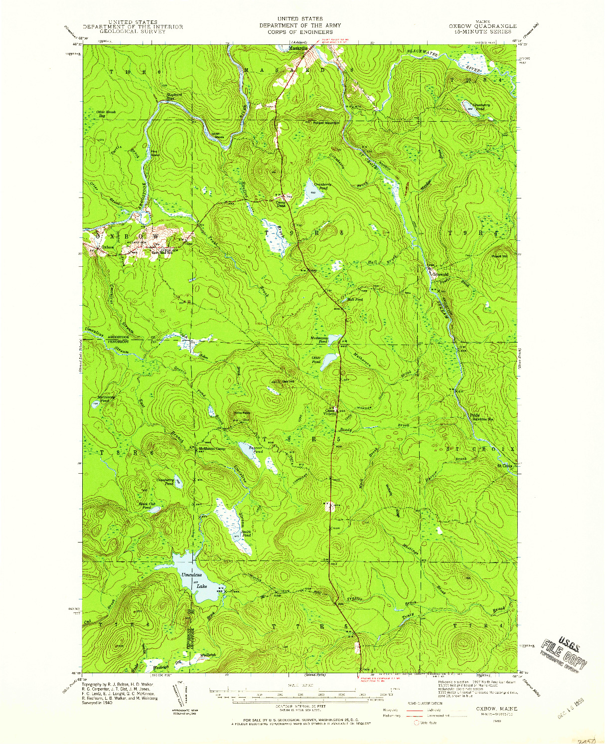 USGS 1:62500-SCALE QUADRANGLE FOR OXBOW, ME 1940