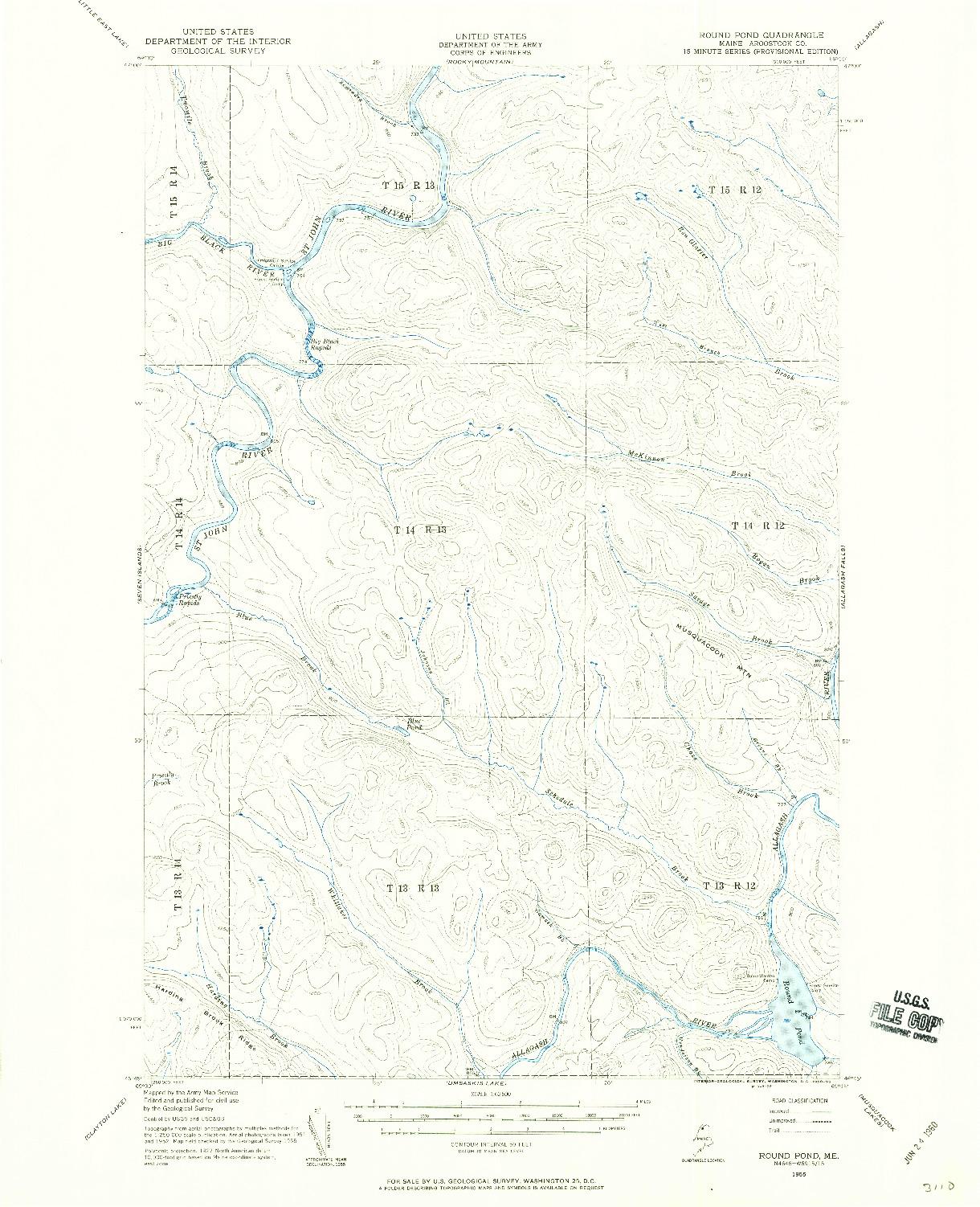 USGS 1:62500-SCALE QUADRANGLE FOR ROUND POND, ME 1955