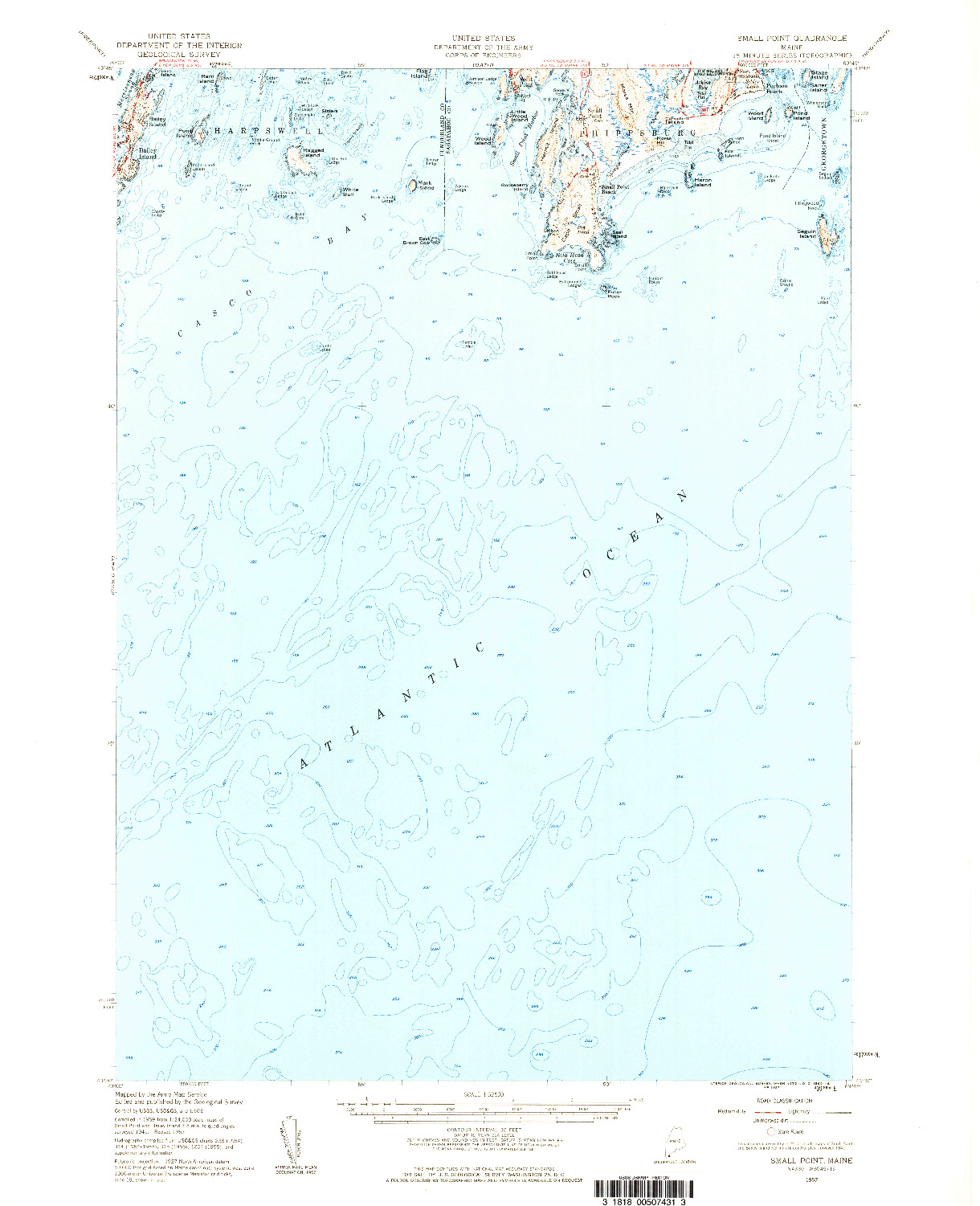 USGS 1:62500-SCALE QUADRANGLE FOR SMALL POINT, ME 1957