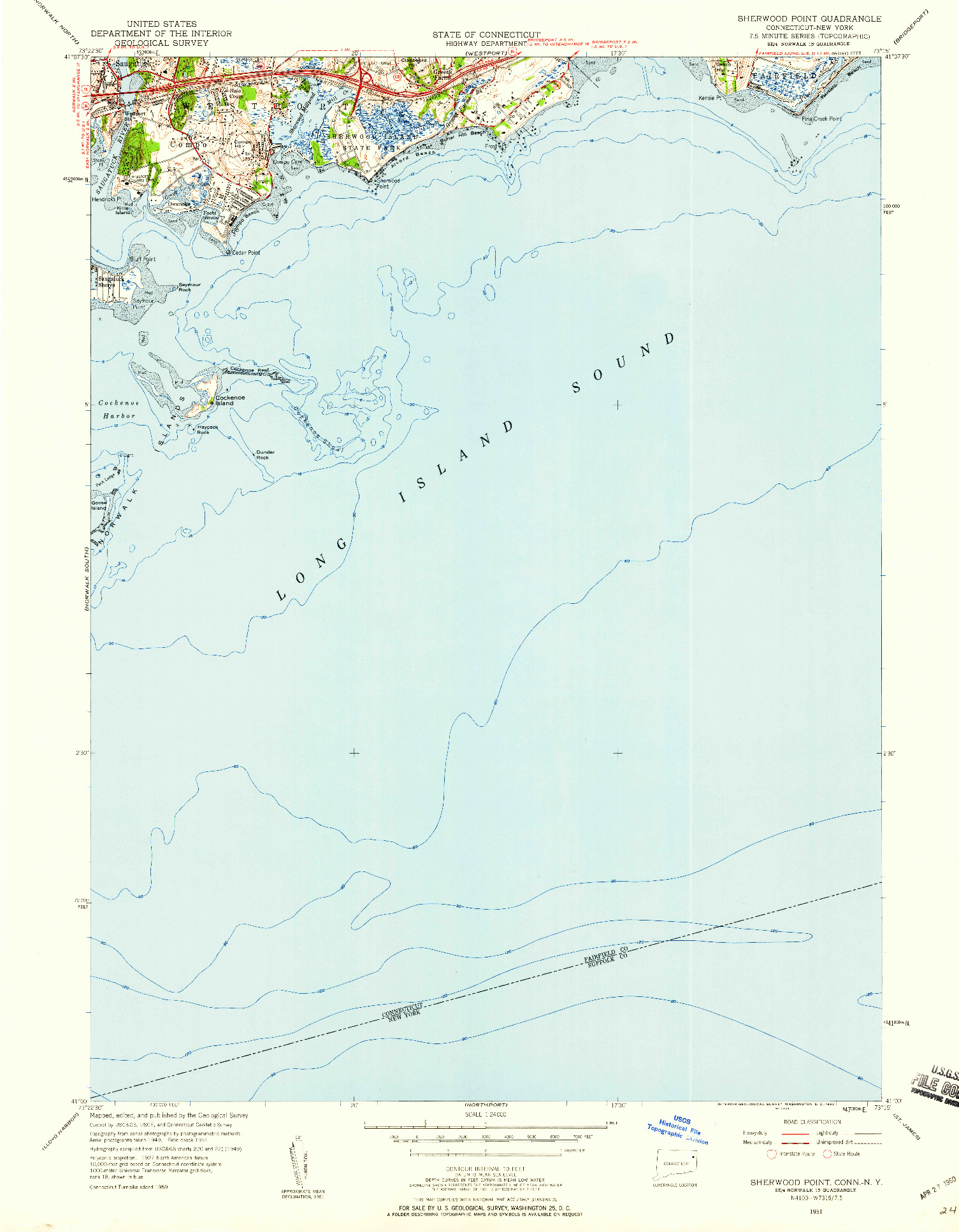 USGS 1:24000-SCALE QUADRANGLE FOR SHERWOOD POINT, CT 1951