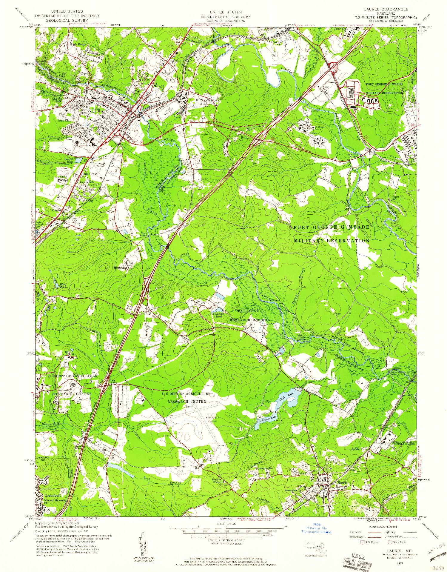 USGS 1:24000-SCALE QUADRANGLE FOR LAUREL, MD 1957