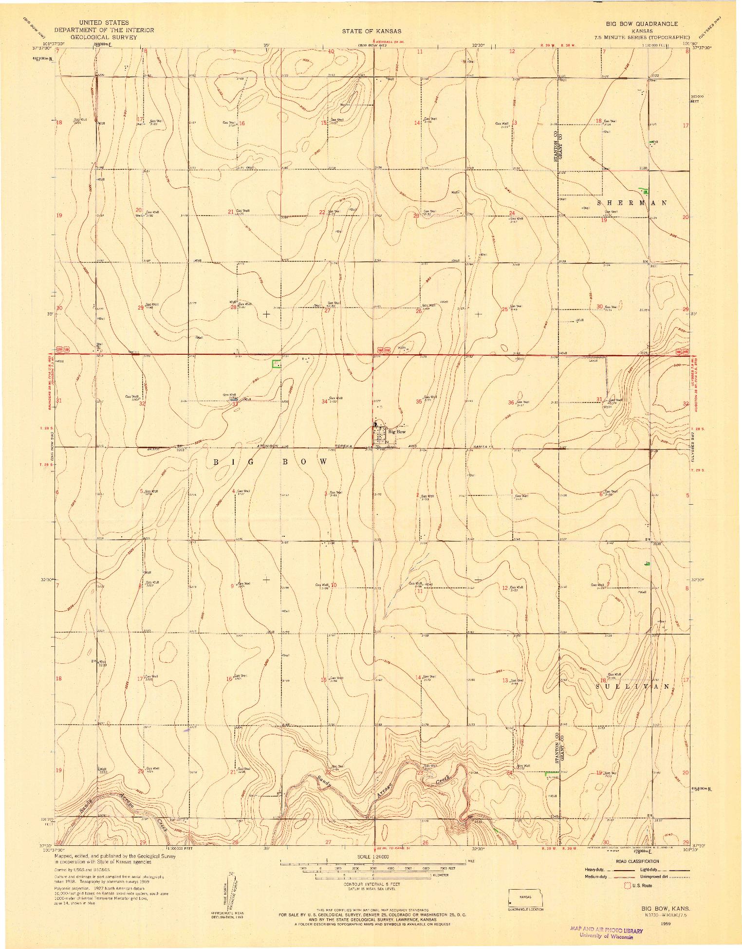 USGS 1:24000-SCALE QUADRANGLE FOR BIG BOW, KS 1959
