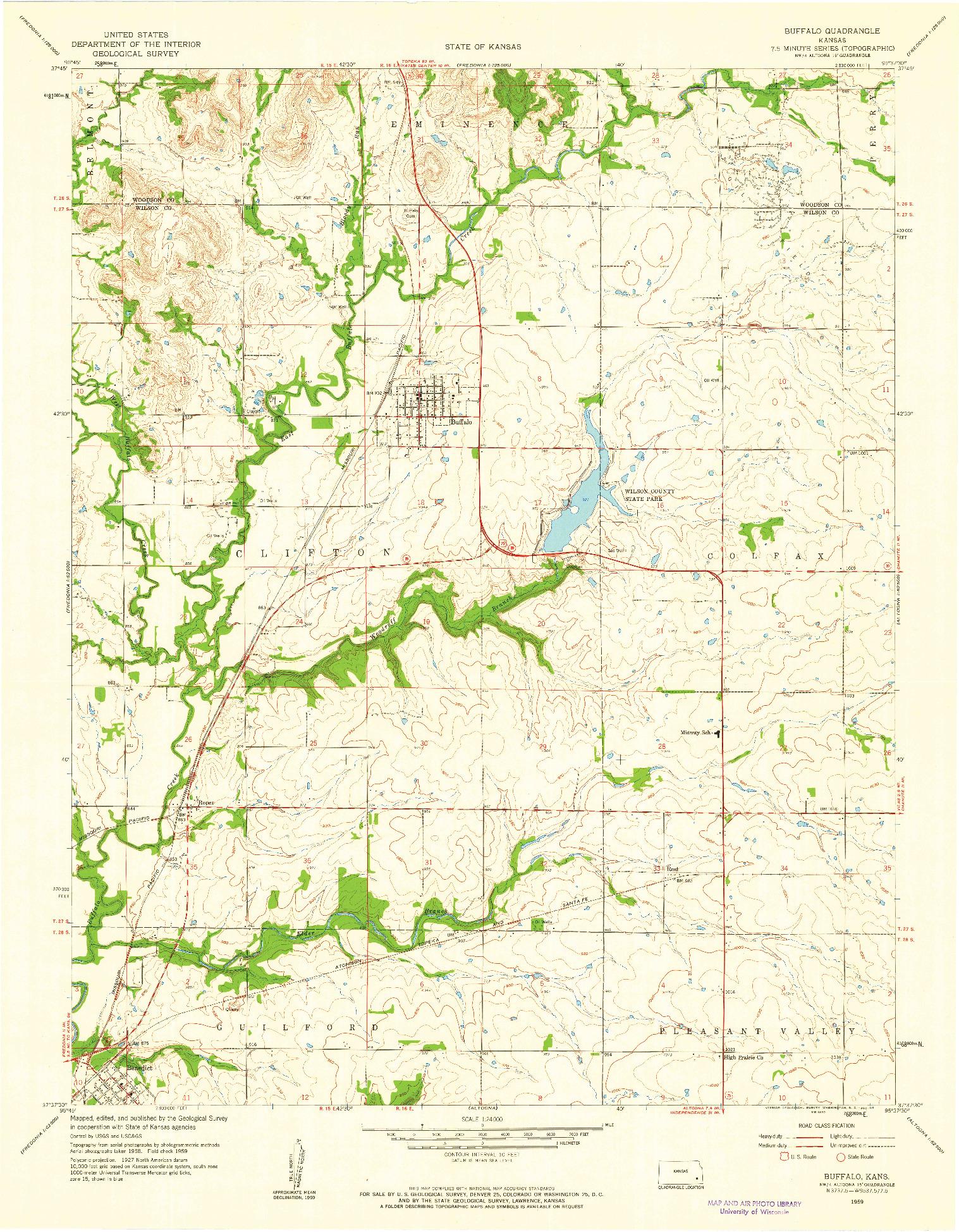 USGS 1:24000-SCALE QUADRANGLE FOR BUFFALO, KS 1959