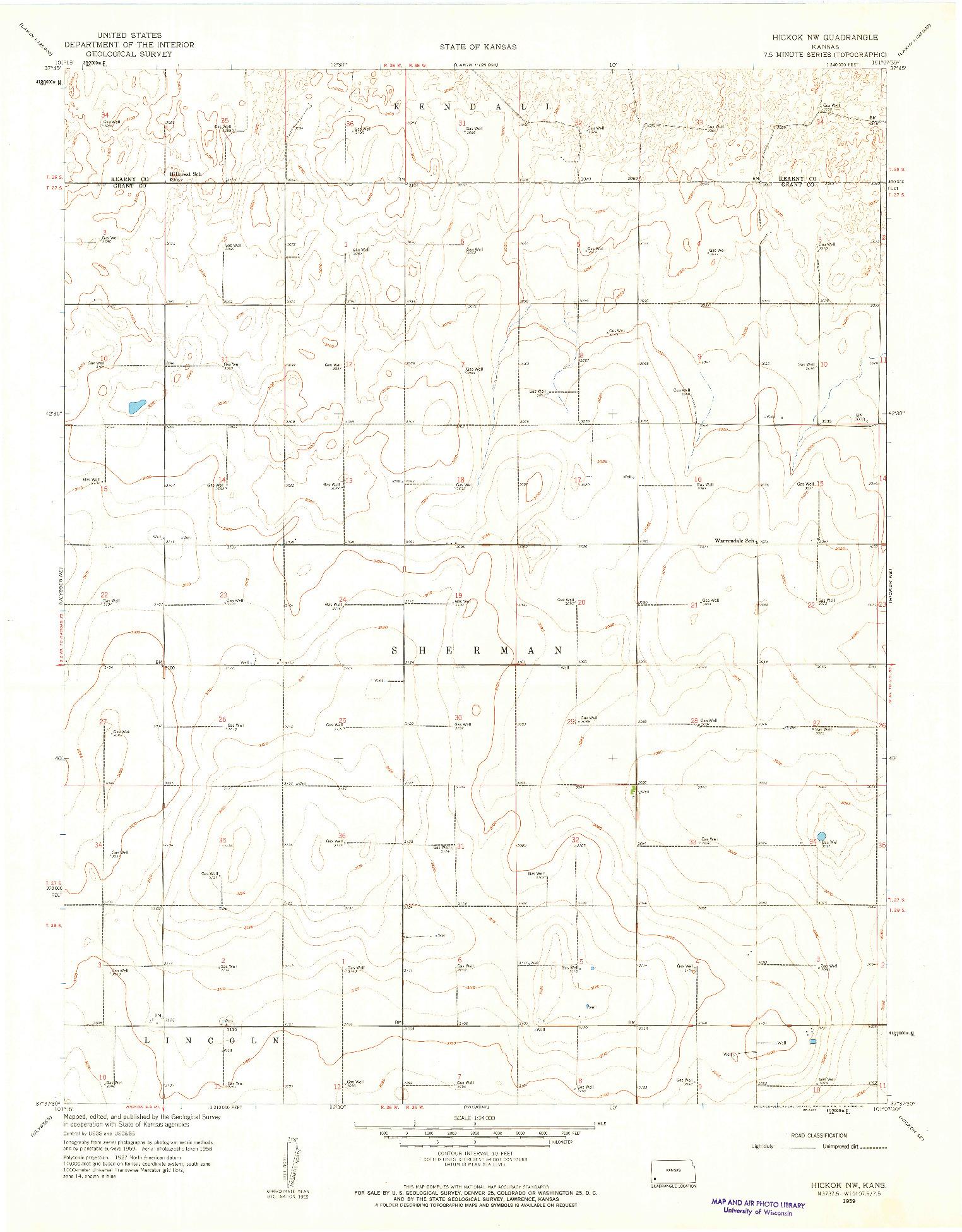 USGS 1:24000-SCALE QUADRANGLE FOR HICKOK NW, KS 1959