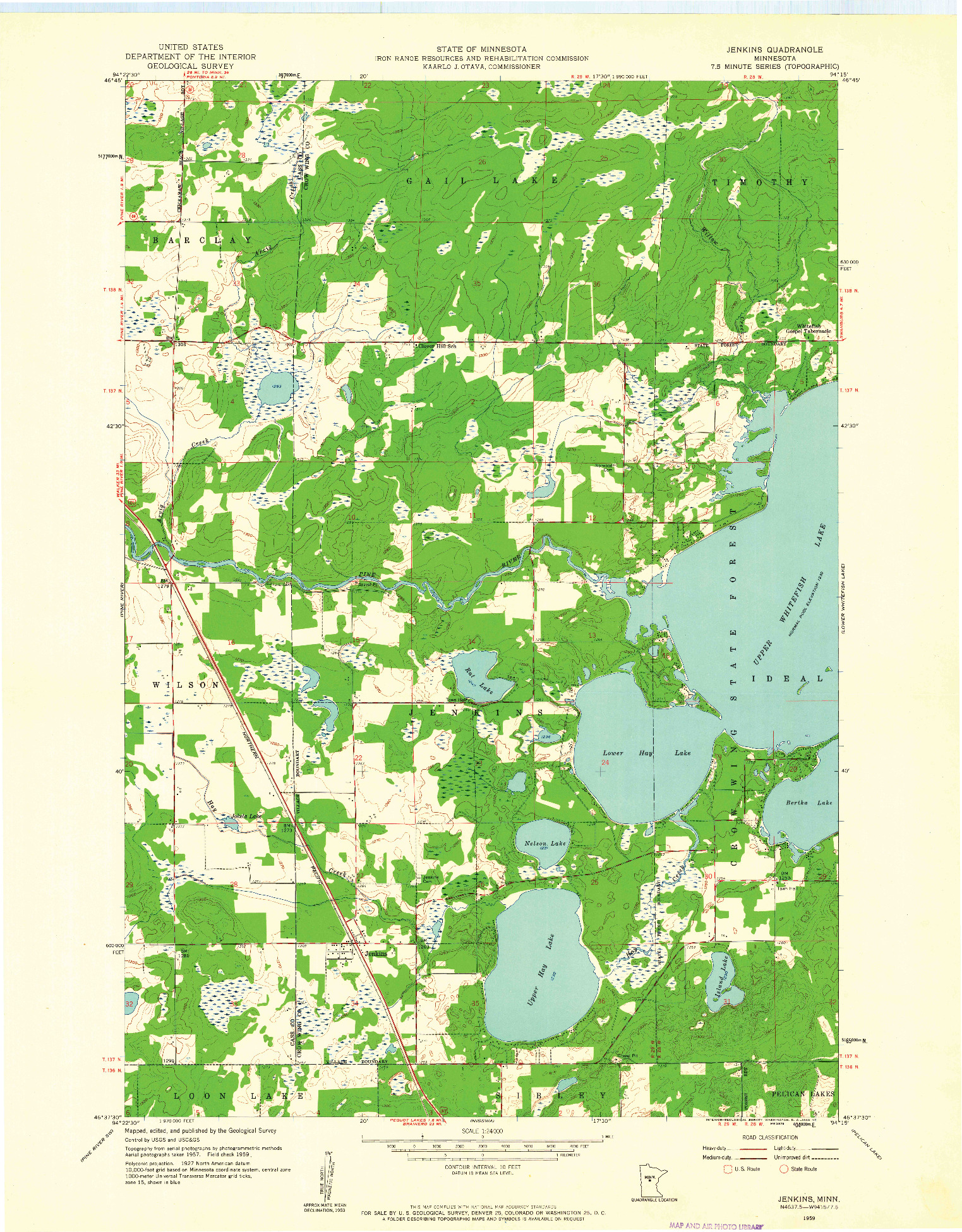 USGS 1:24000-SCALE QUADRANGLE FOR JENKINS, MN 1959