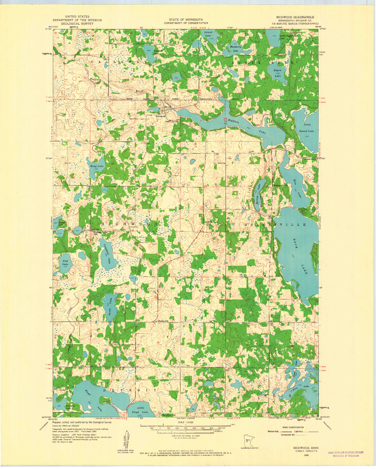 USGS 1:24000-SCALE QUADRANGLE FOR RICHWOOD, MN 1959