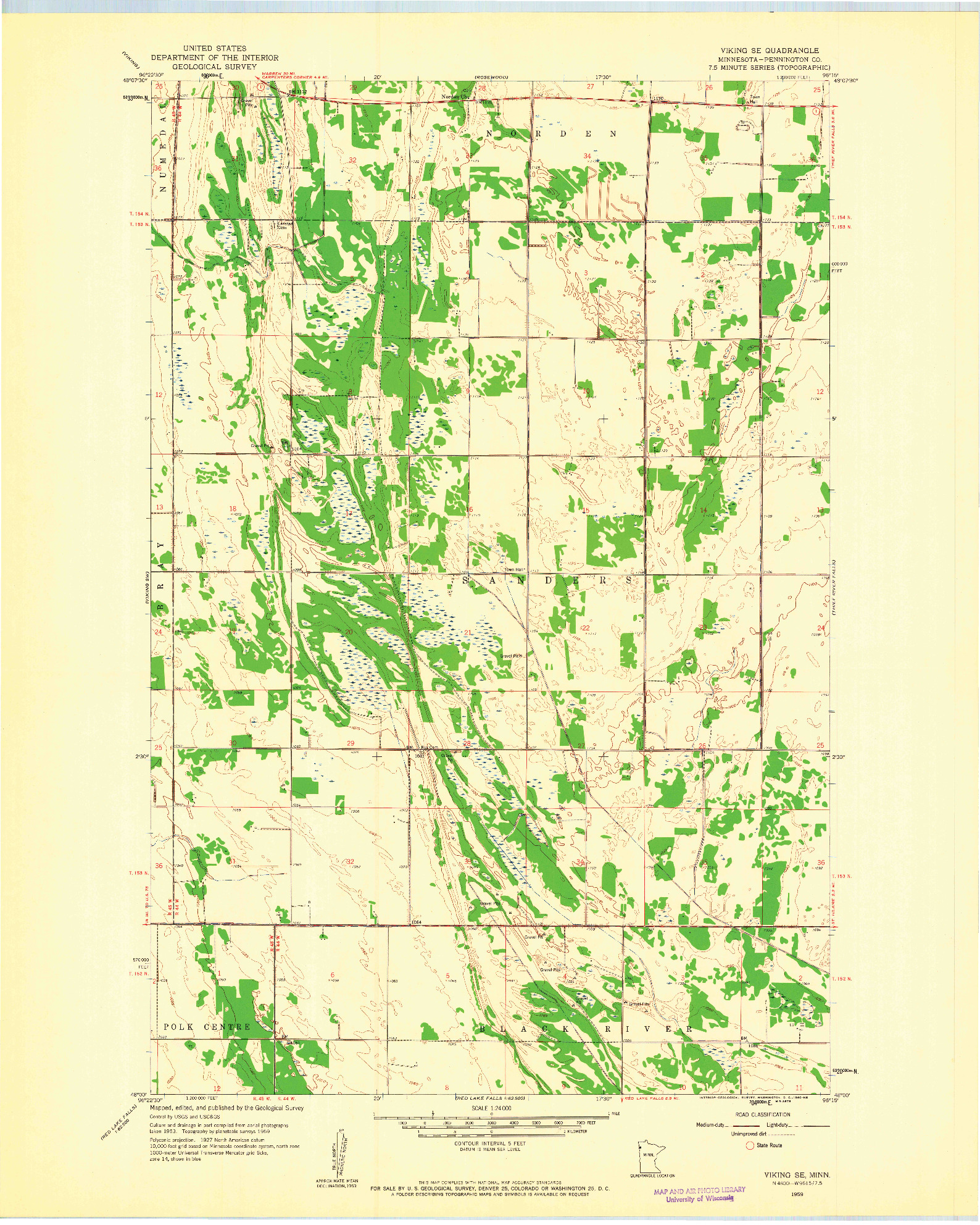 USGS 1:24000-SCALE QUADRANGLE FOR VIKING SE, MN 1959