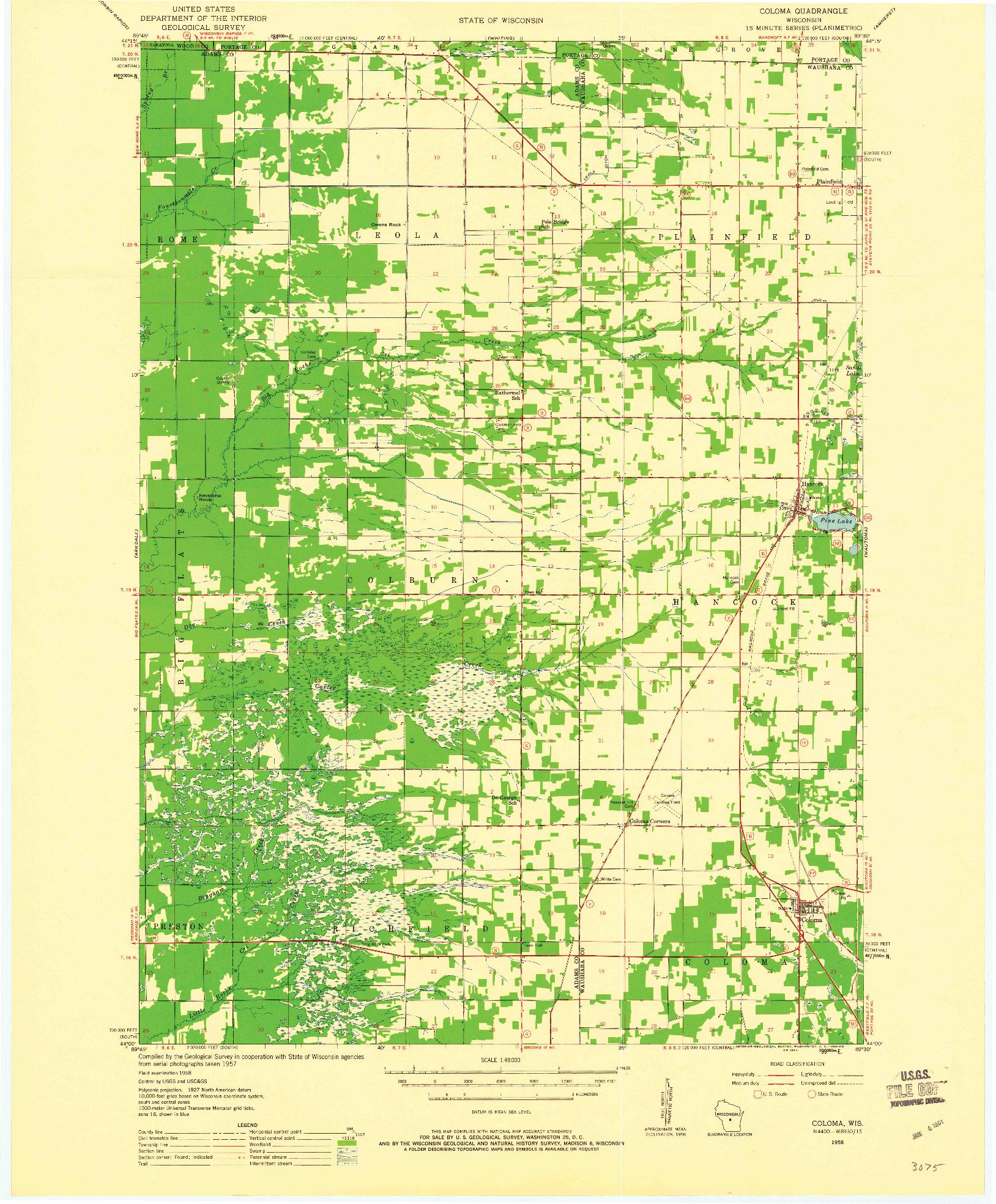 USGS 1:48000-SCALE QUADRANGLE FOR COLOMA, WI 1958
