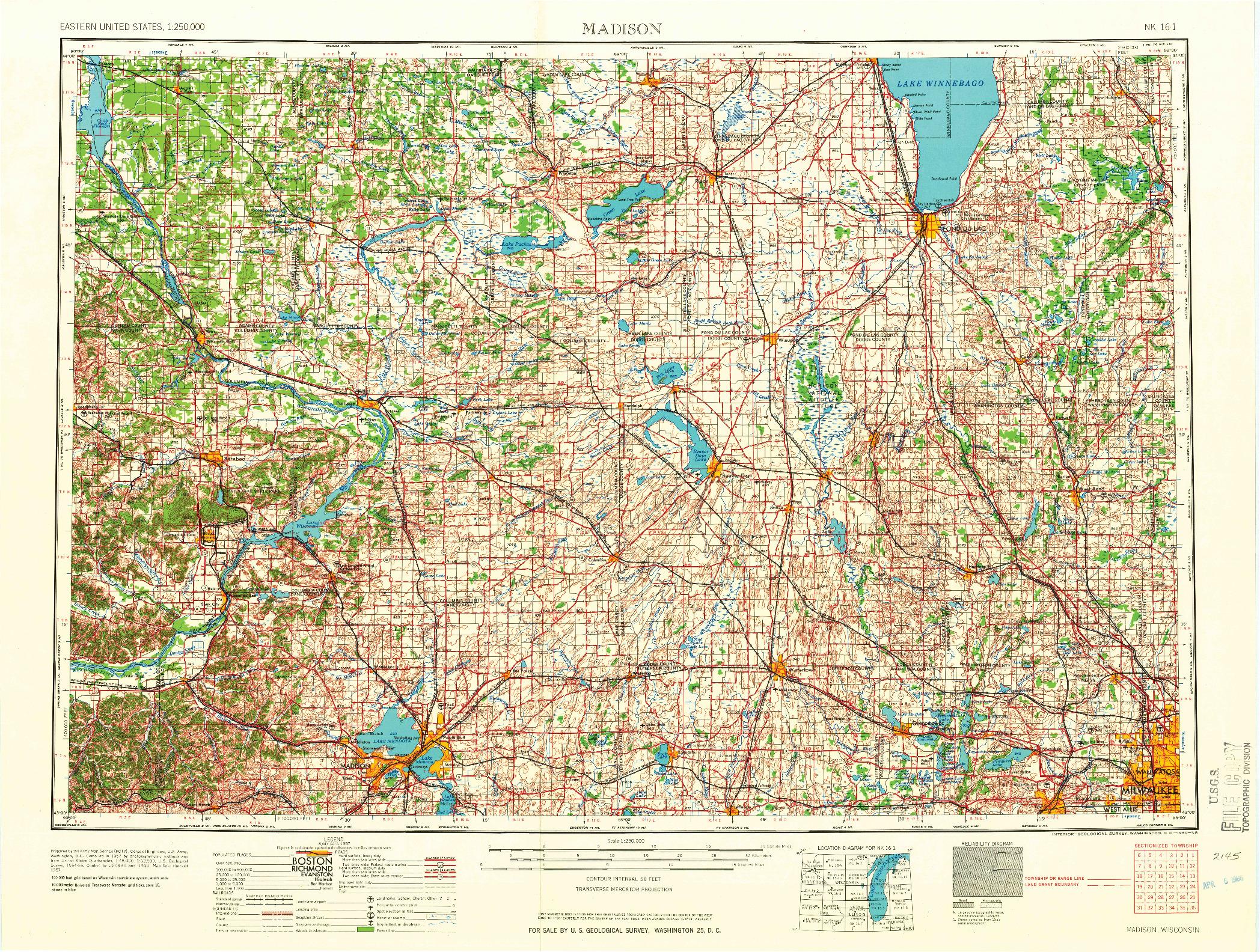 USGS 1:250000-SCALE QUADRANGLE FOR MADISON, WI 1960