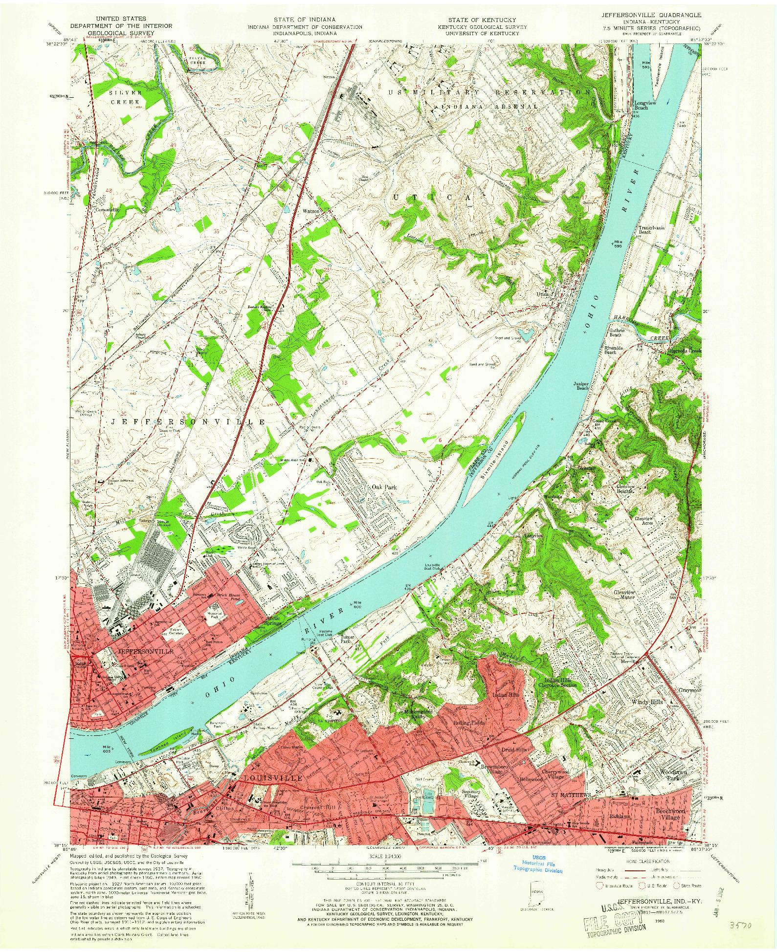 USGS 1:24000-SCALE QUADRANGLE FOR JEFFERSONVILLE, IN 1960