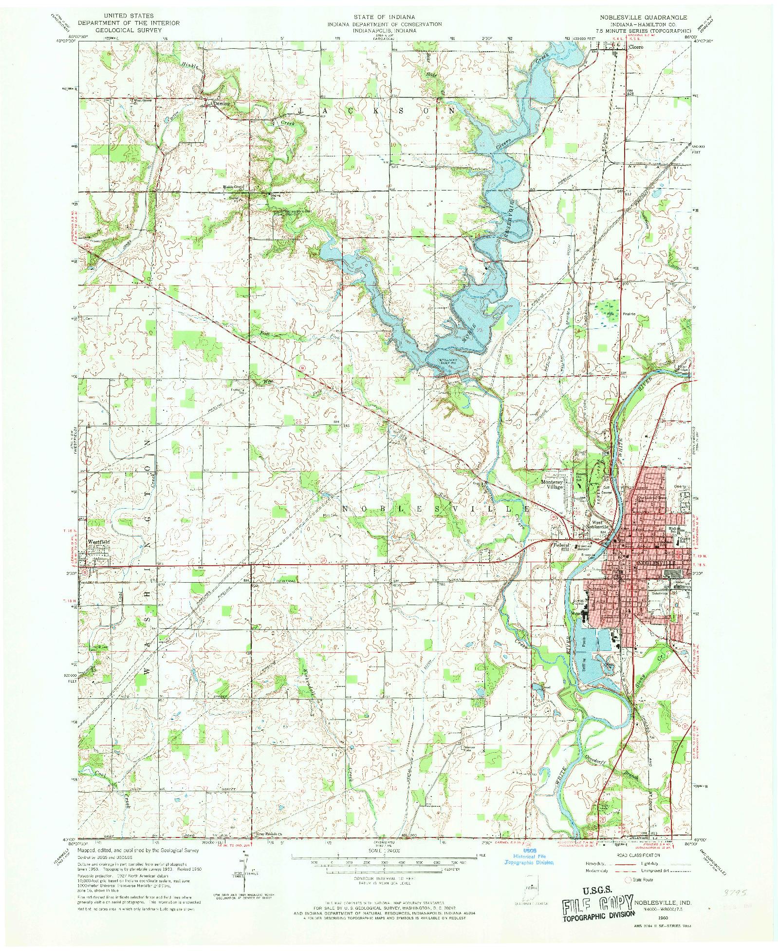 USGS 1:24000-SCALE QUADRANGLE FOR NOBLESVILLE, IN 1960
