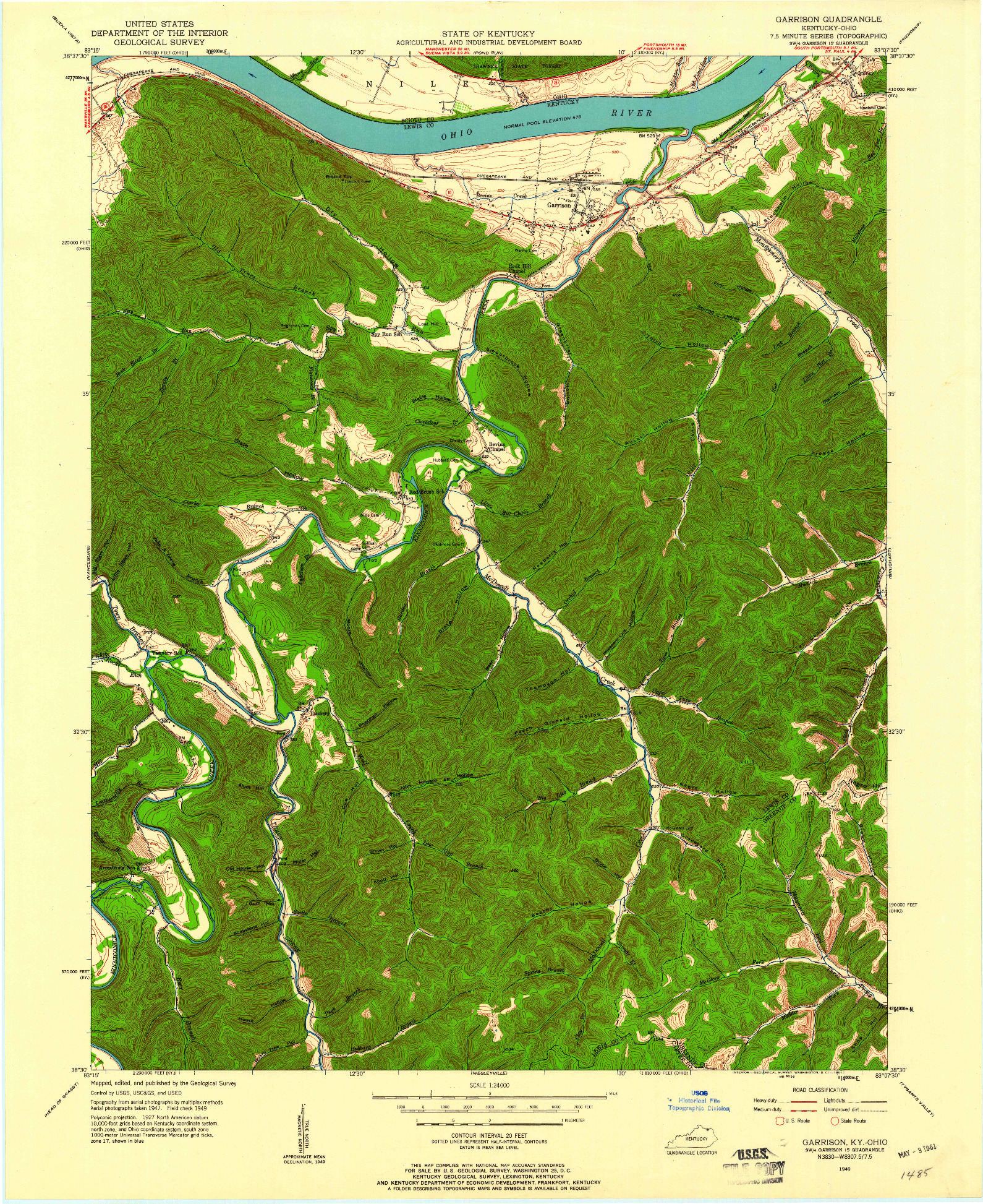 USGS 1:24000-SCALE QUADRANGLE FOR GARRISON, KY 1949
