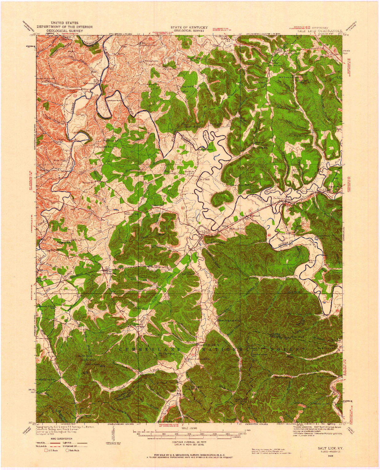 USGS 1:62500-SCALE QUADRANGLE FOR SALT LICK, KY 1929
