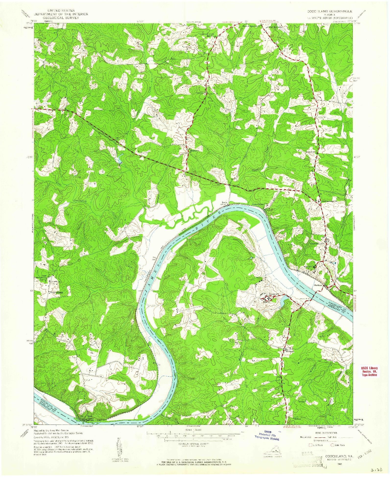 USGS 1:24000-SCALE QUADRANGLE FOR GOOCHLAND, VA 1943