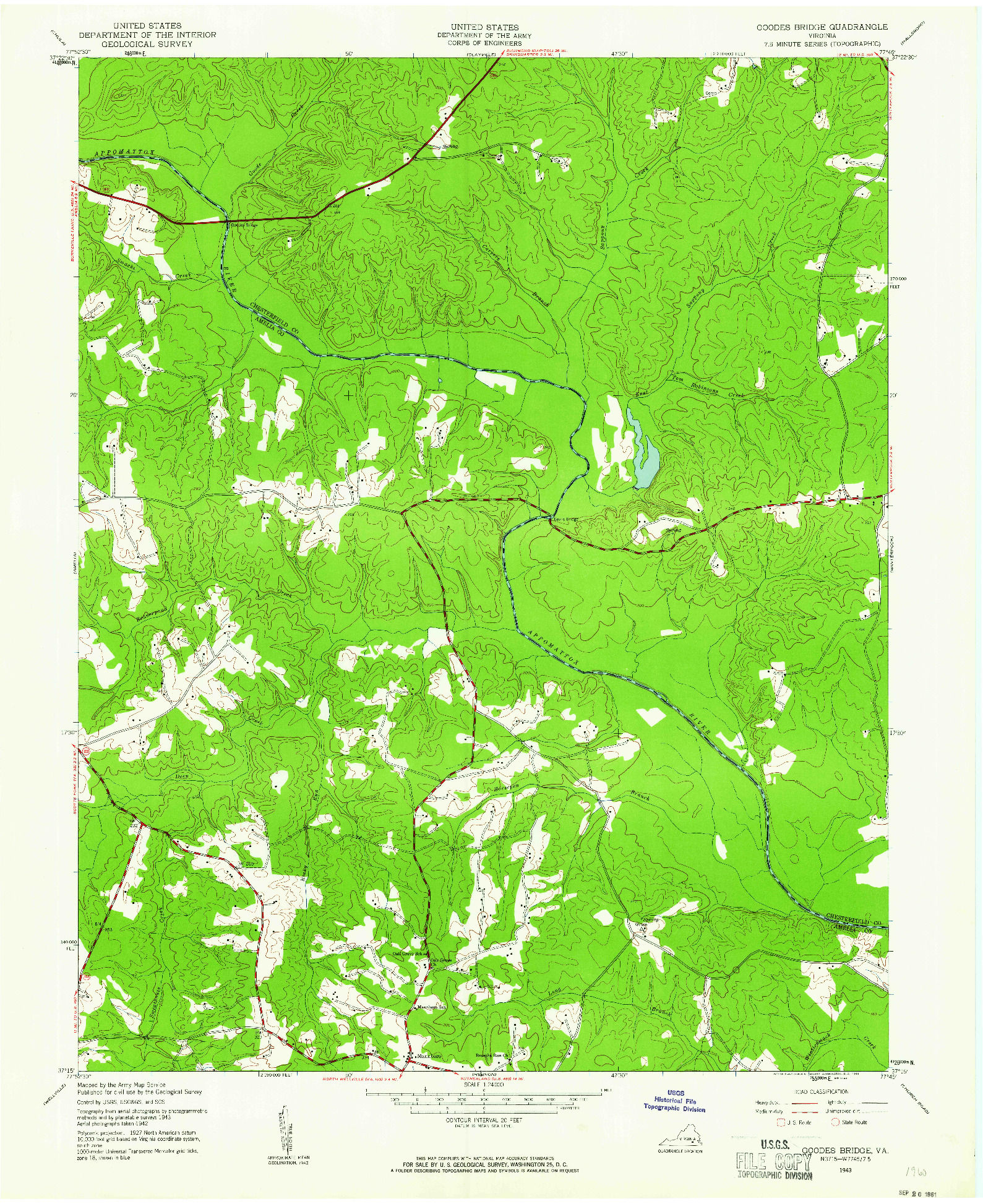USGS 1:24000-SCALE QUADRANGLE FOR GOODES BRIDGE, VA 1943
