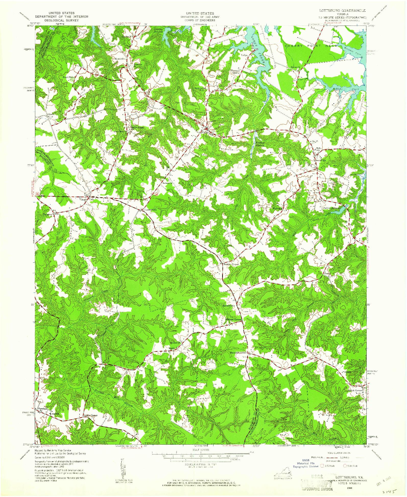 USGS 1:24000-SCALE QUADRANGLE FOR LOTTSBURG, VA 1944