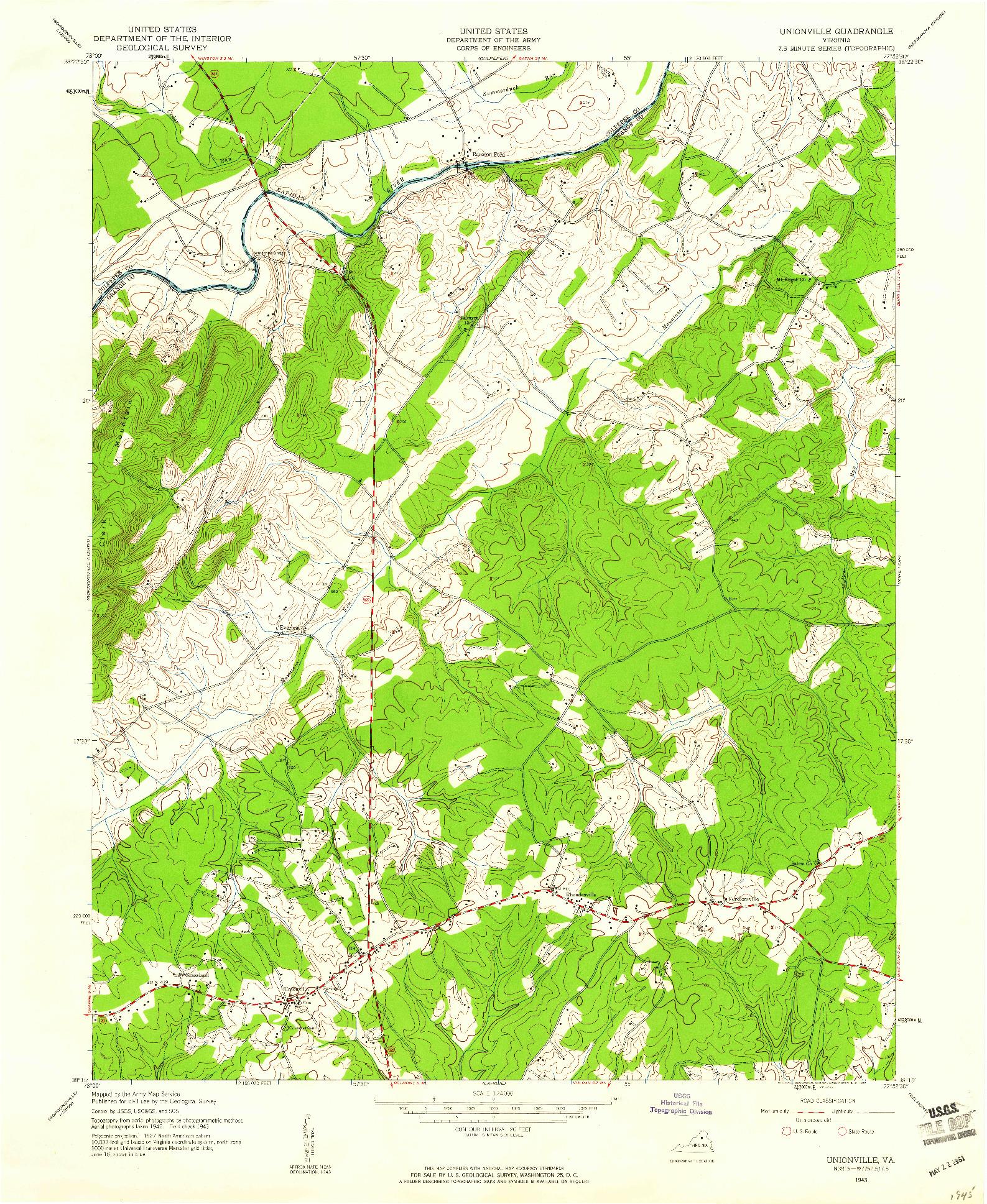 USGS 1:24000-SCALE QUADRANGLE FOR UNIONVILLE, VA 1943