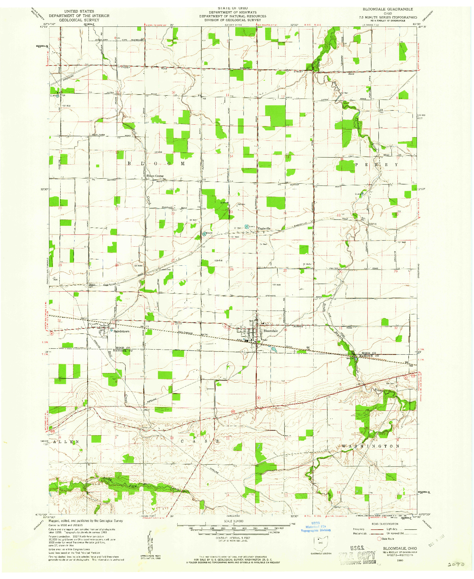 USGS 1:24000-SCALE QUADRANGLE FOR BLOOMDALE, OH 1960