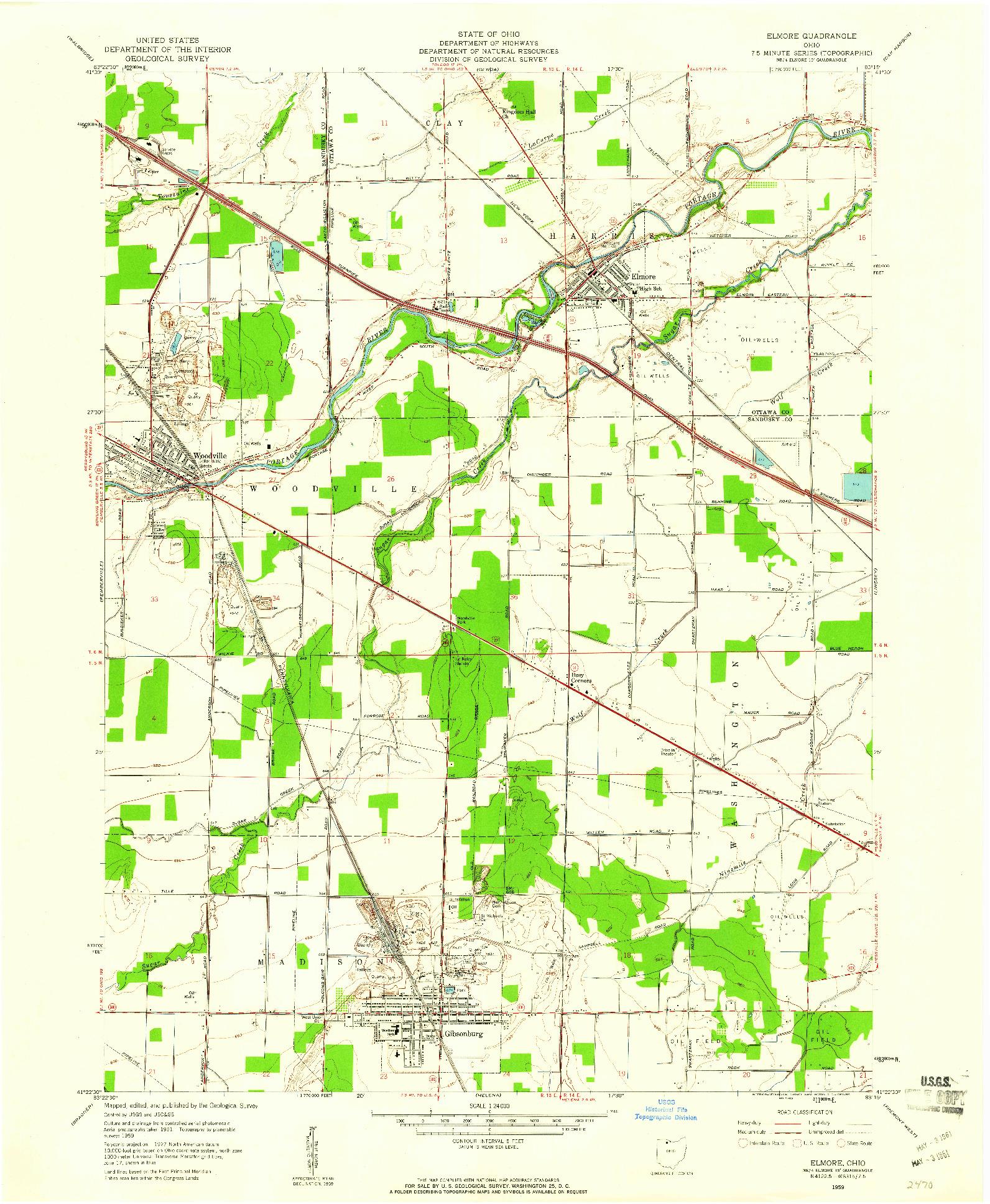 USGS 1:24000-SCALE QUADRANGLE FOR ELMORE, OH 1959