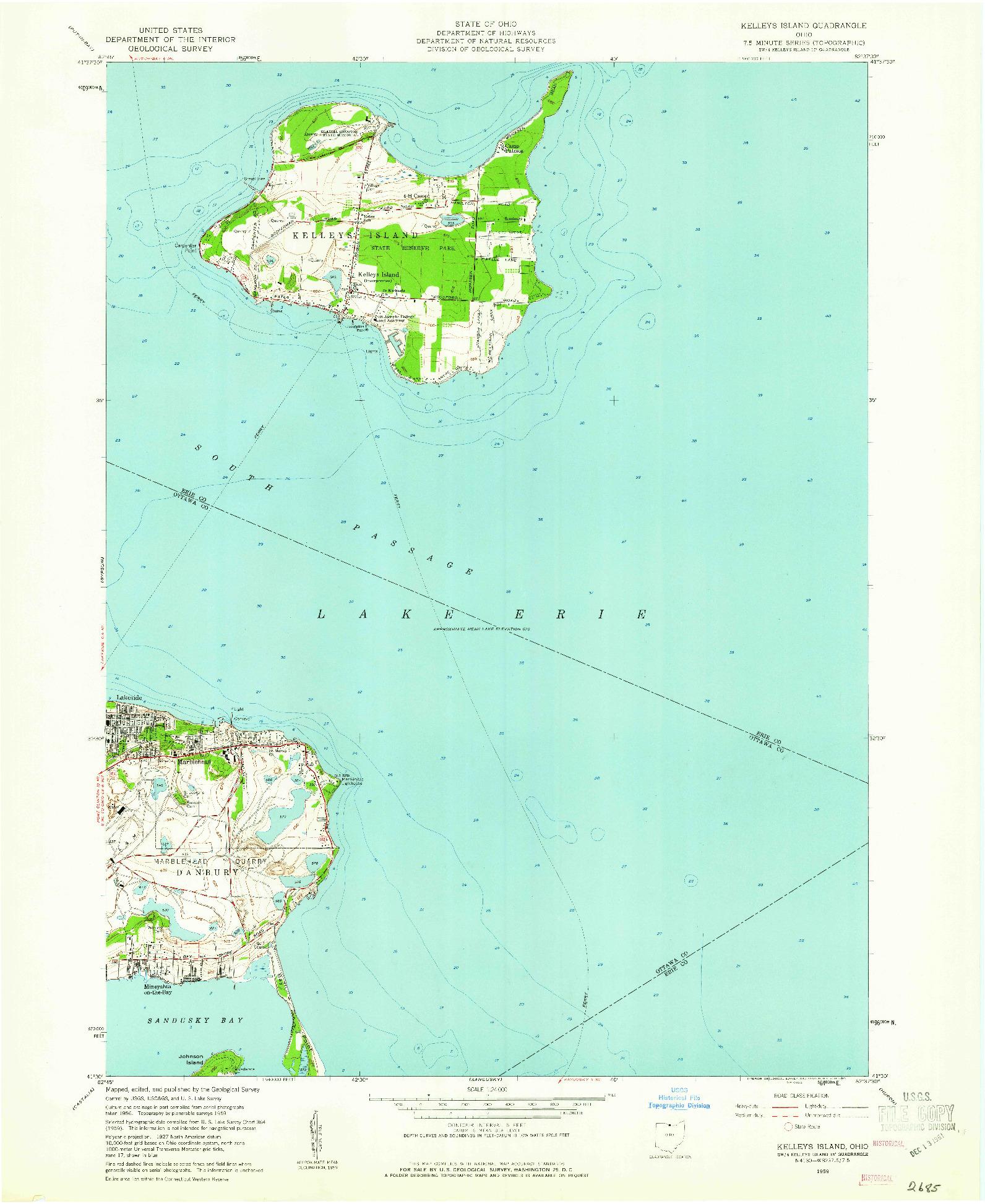 USGS 1:24000-SCALE QUADRANGLE FOR KELLEYS ISLAND, OH 1959