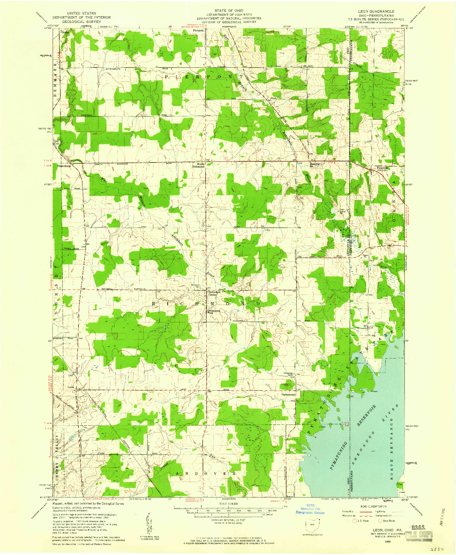 USGS 1:24000-SCALE QUADRANGLE FOR LEON, OH 1959