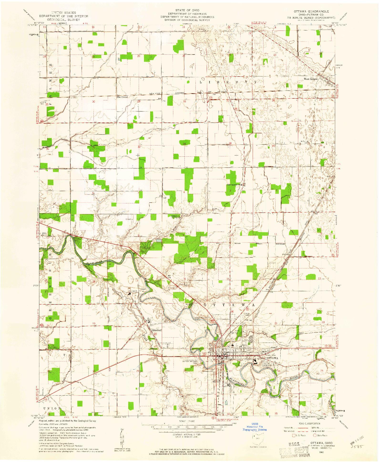 USGS 1:24000-SCALE QUADRANGLE FOR OTTAWA, OH 1960