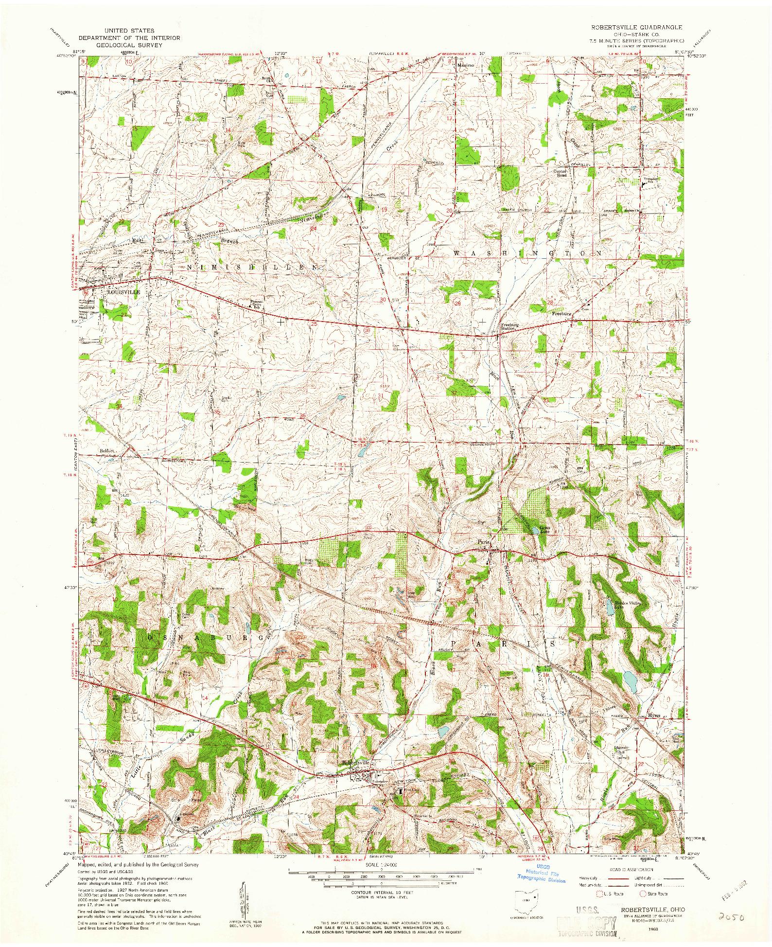 USGS 1:24000-SCALE QUADRANGLE FOR ROBERTSVILLE, OH 1960