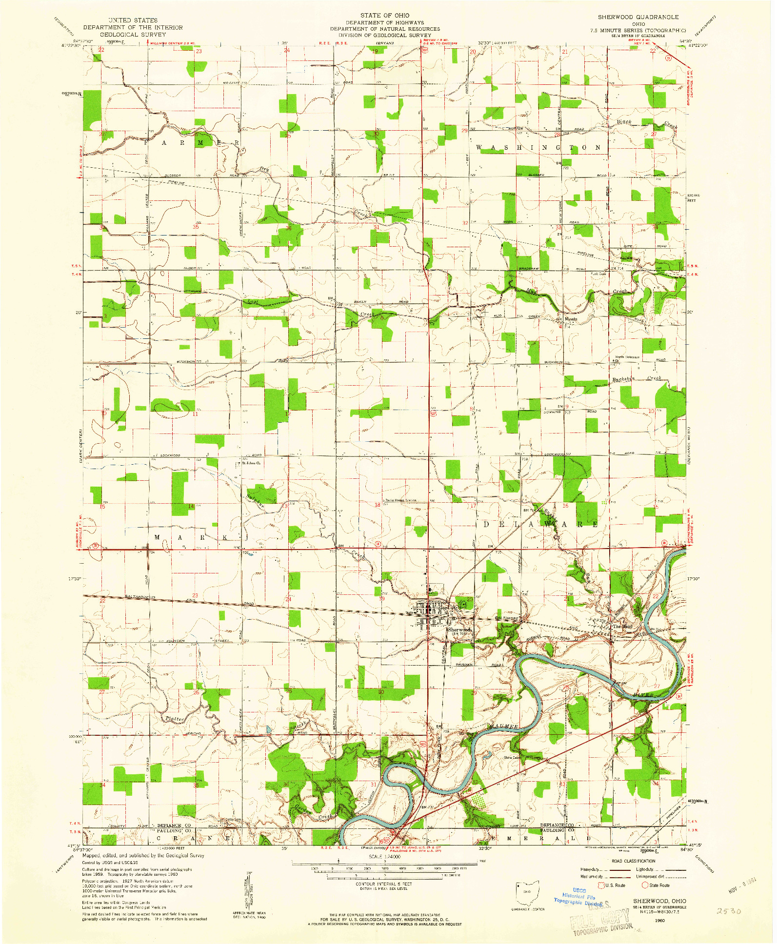 USGS 1:24000-SCALE QUADRANGLE FOR SHERWOOD, OH 1960