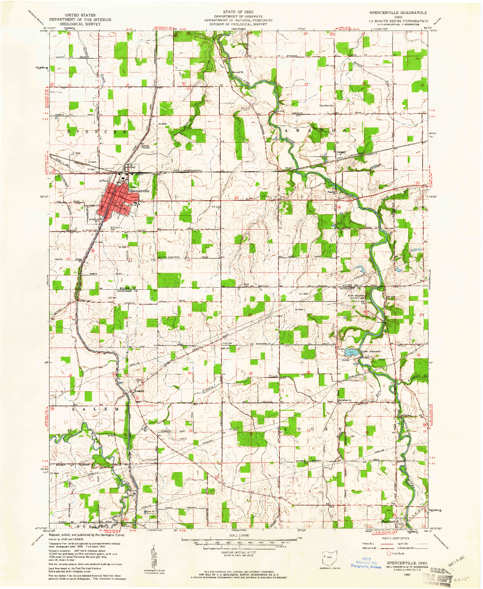 USGS 1:24000-SCALE QUADRANGLE FOR SPENCERVILLE, OH 1960