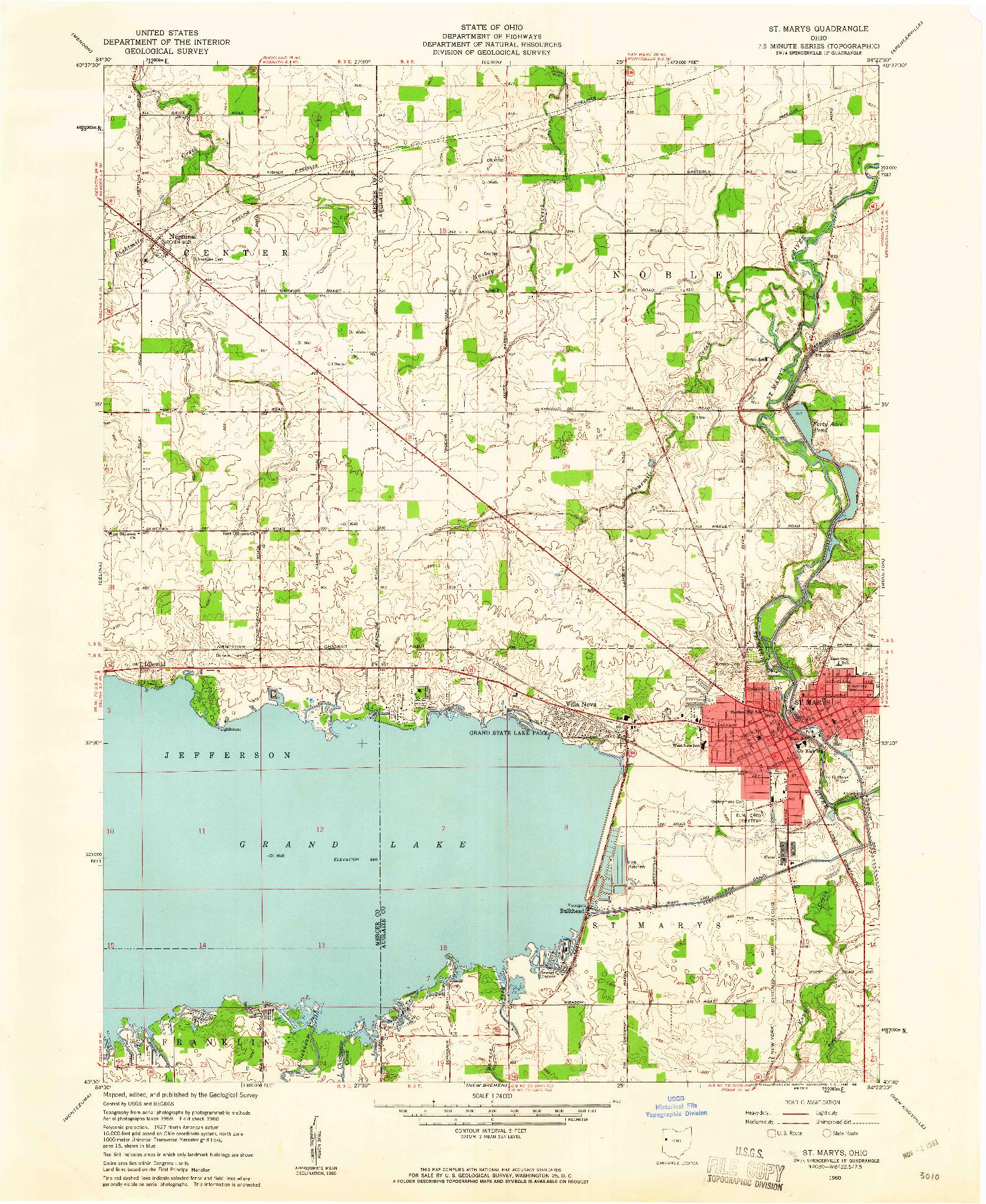 USGS 1:24000-SCALE QUADRANGLE FOR ST. MARYS, OH 1960