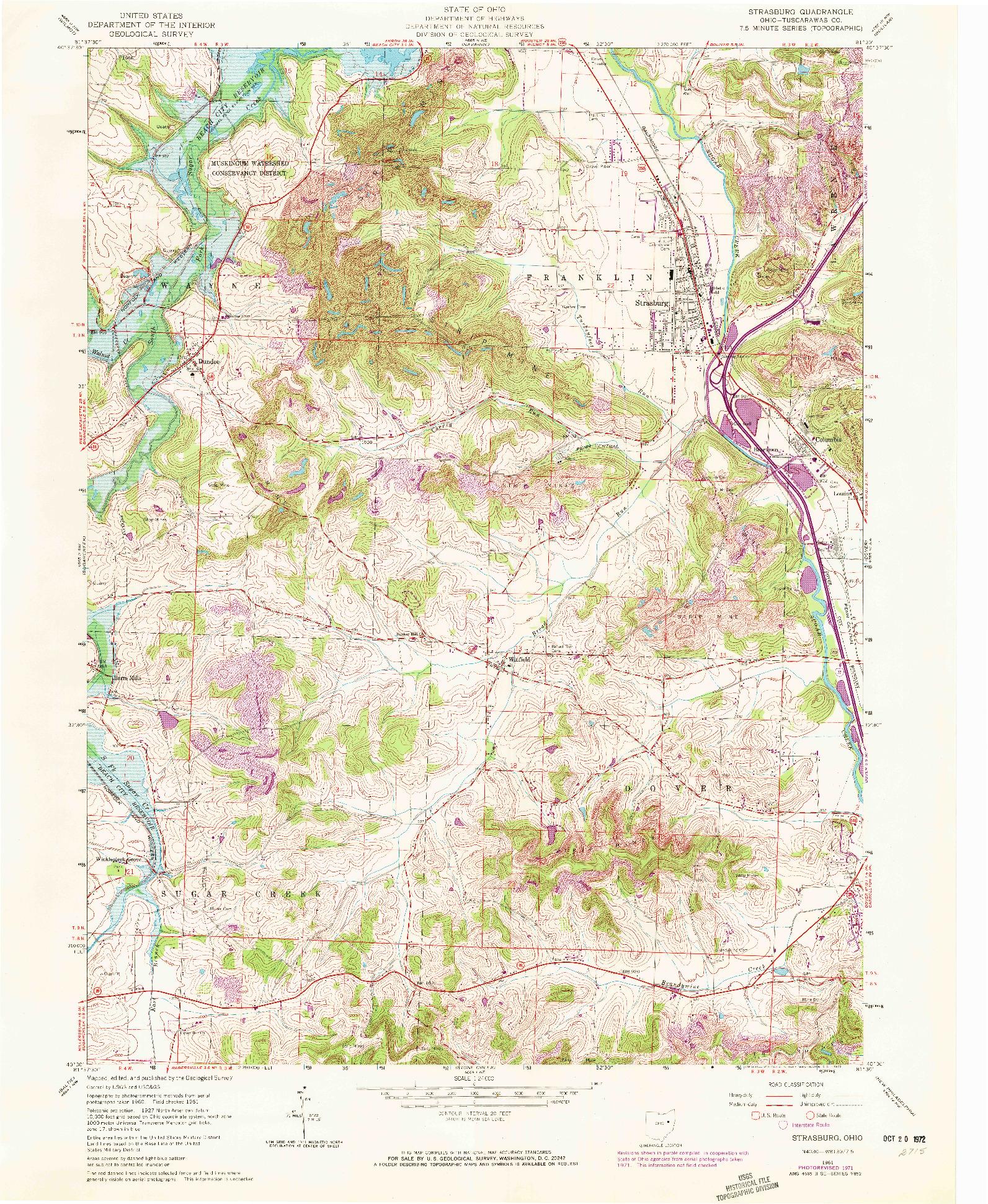 USGS 1:24000-SCALE QUADRANGLE FOR STRASBURG, OH 1961