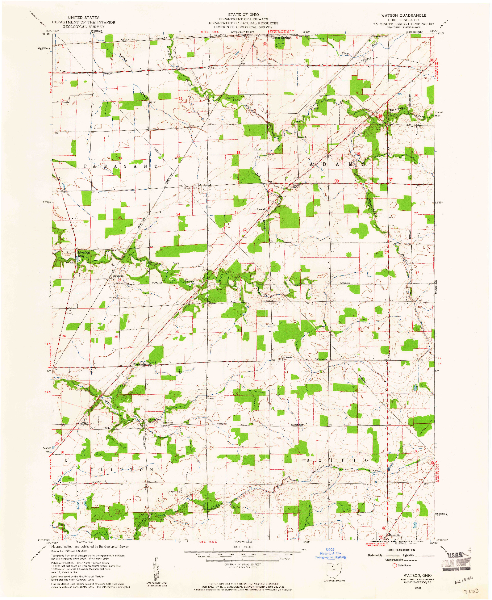 USGS 1:24000-SCALE QUADRANGLE FOR WATSON, OH 1960