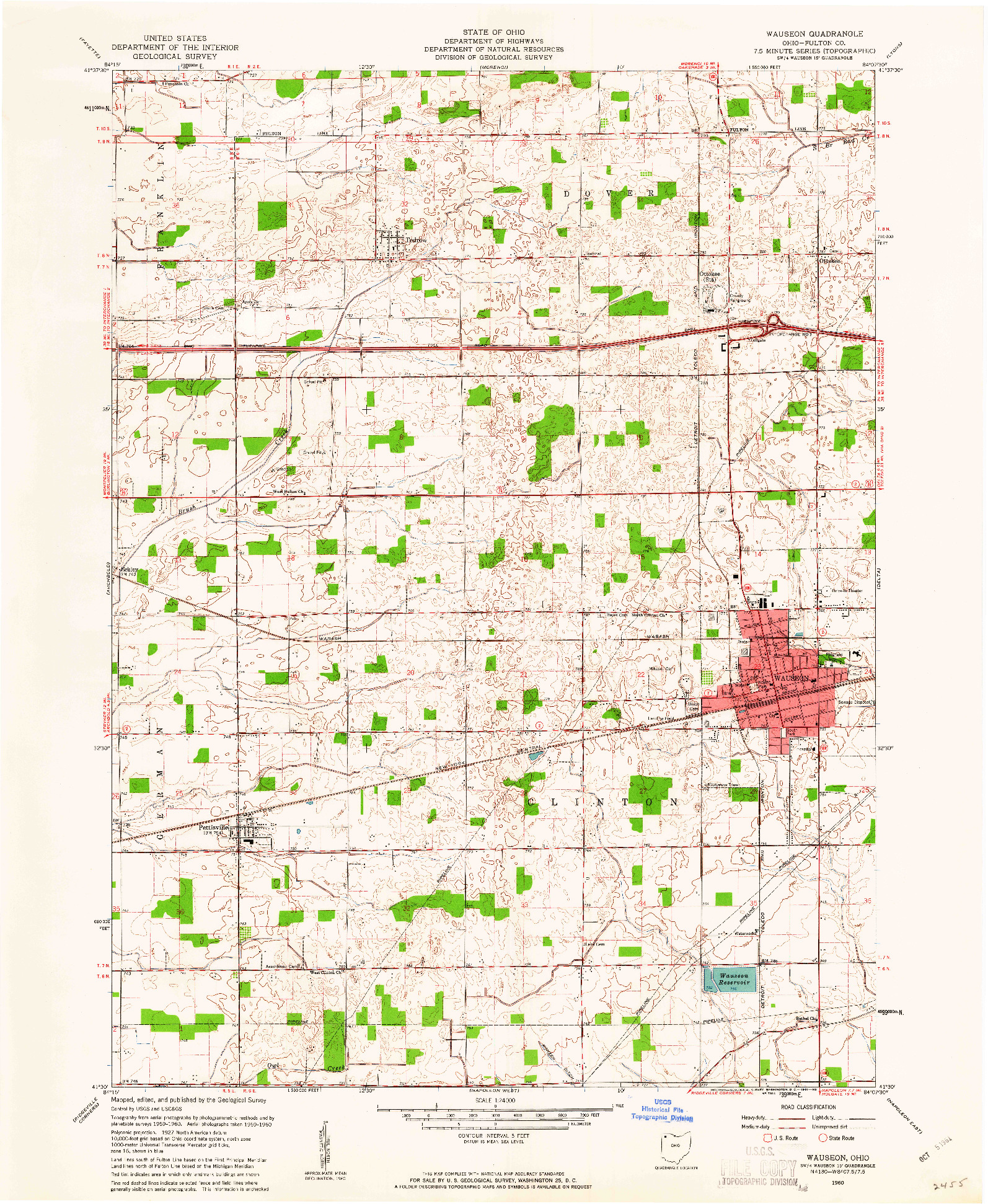 USGS 1:24000-SCALE QUADRANGLE FOR WAUSEON, OH 1960