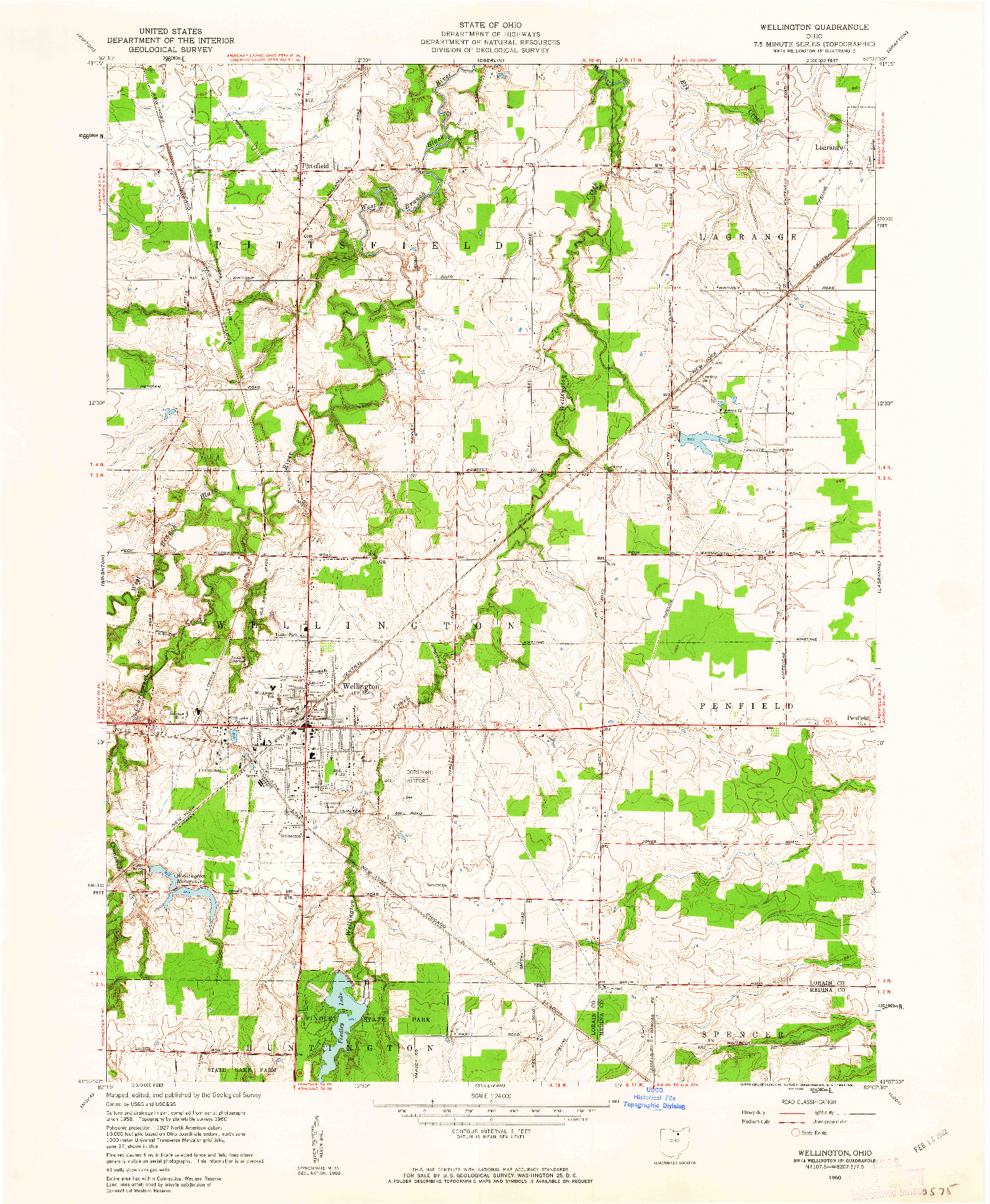USGS 1:24000-SCALE QUADRANGLE FOR WELLINGTON, OH 1960