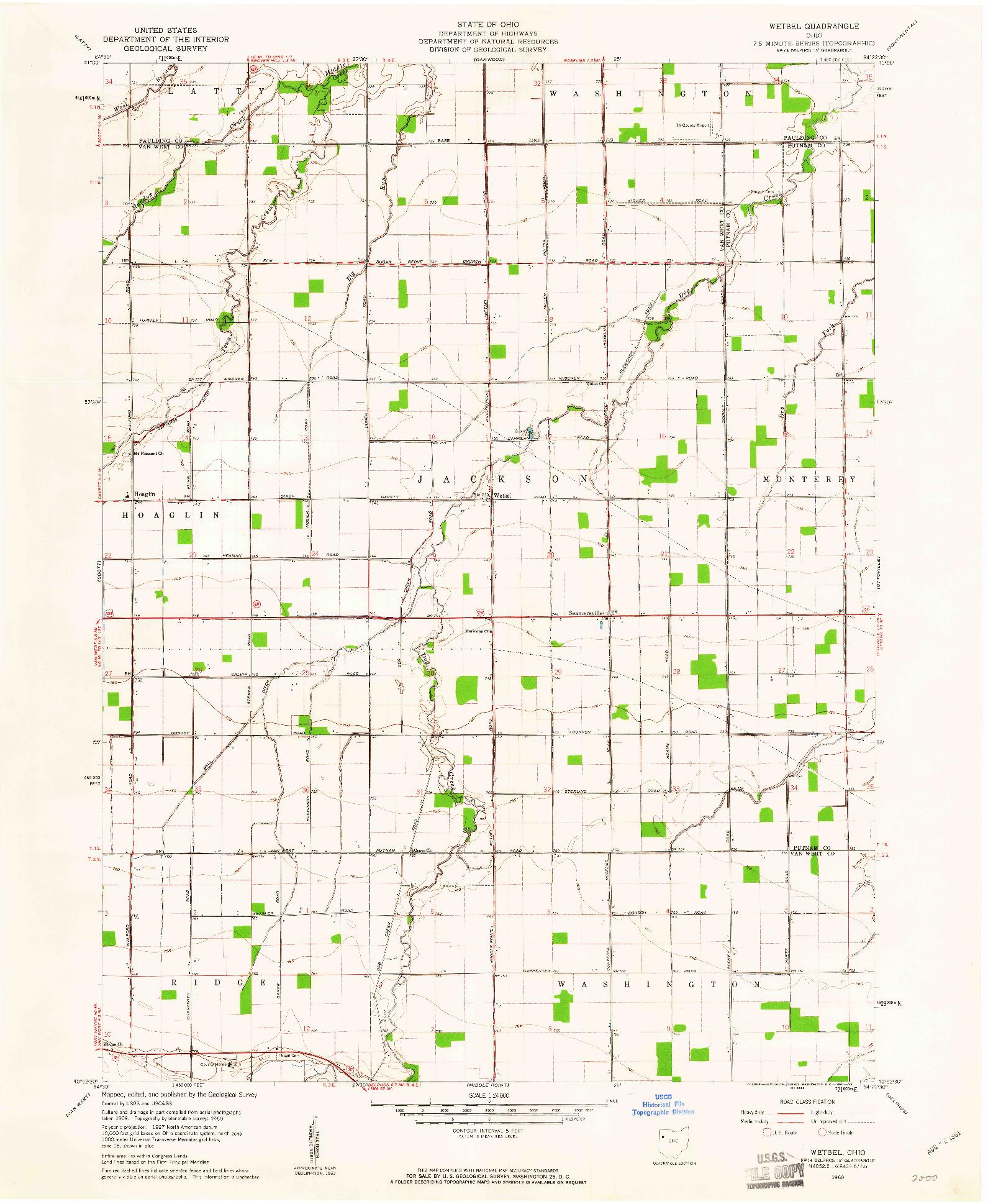 USGS 1:24000-SCALE QUADRANGLE FOR WETSEL, OH 1960