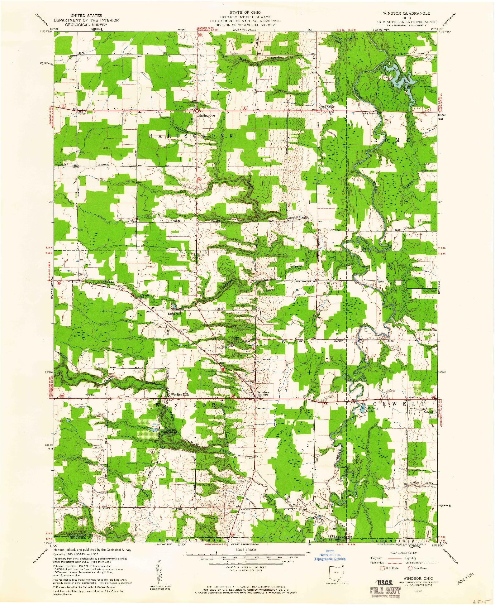 USGS 1:24000-SCALE QUADRANGLE FOR WINDSOR, OH 1959