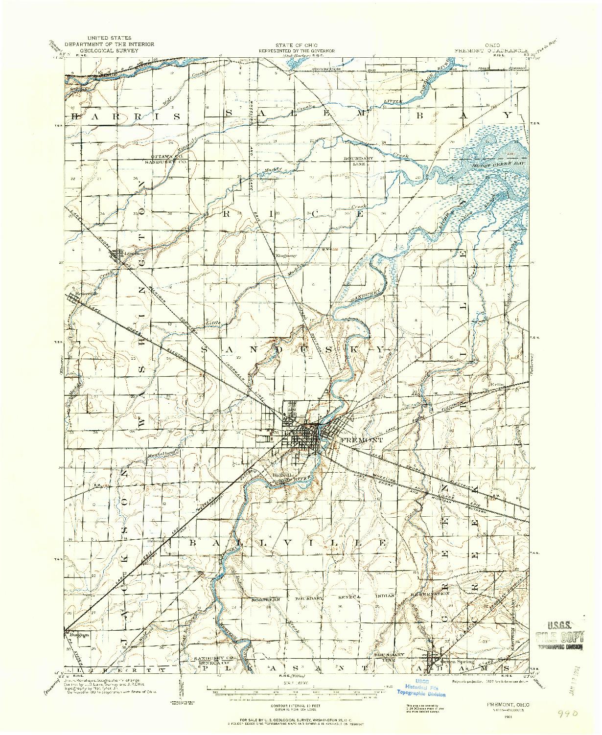USGS 1:62500-SCALE QUADRANGLE FOR FREMONT, OH 1901