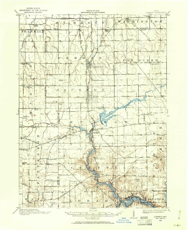 USGS 1:62500-SCALE QUADRANGLE FOR LORAMIE, OH 1909