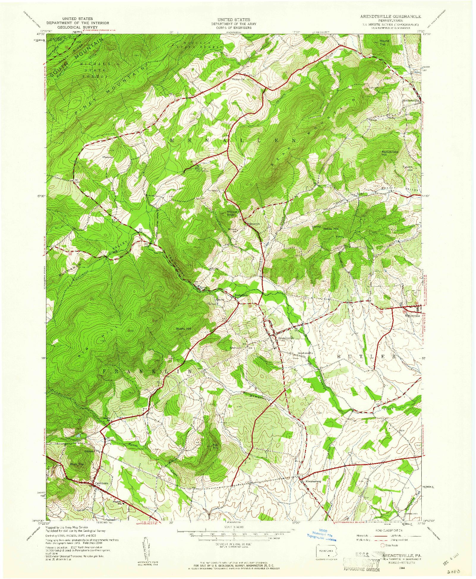 USGS 1:24000-SCALE QUADRANGLE FOR ARENDTSVILLE, PA 1944