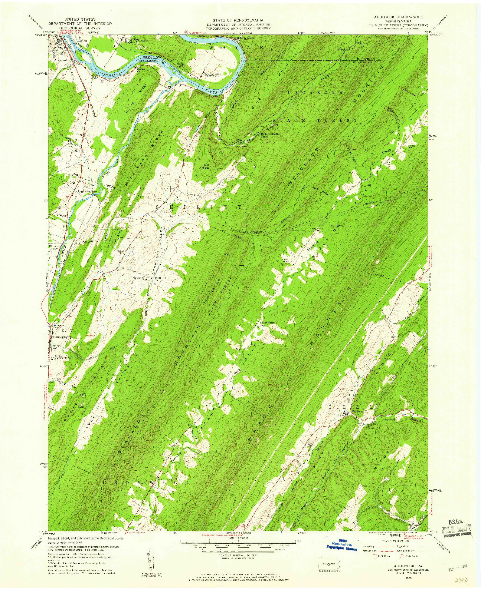 USGS 1:24000-SCALE QUADRANGLE FOR AUGHWICK, PA 1959