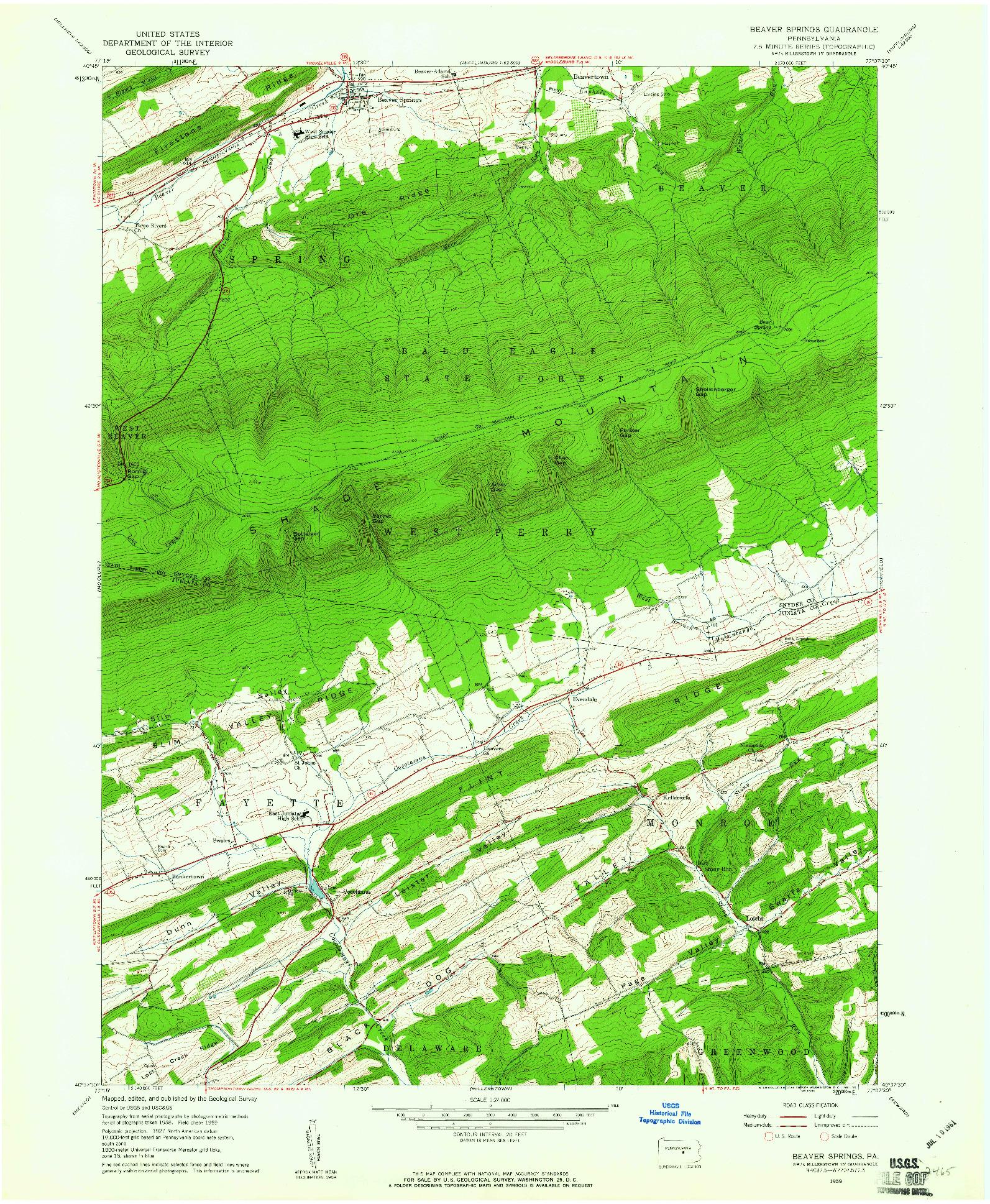 USGS 1:24000-SCALE QUADRANGLE FOR BEAVER SPRINGS, PA 1959