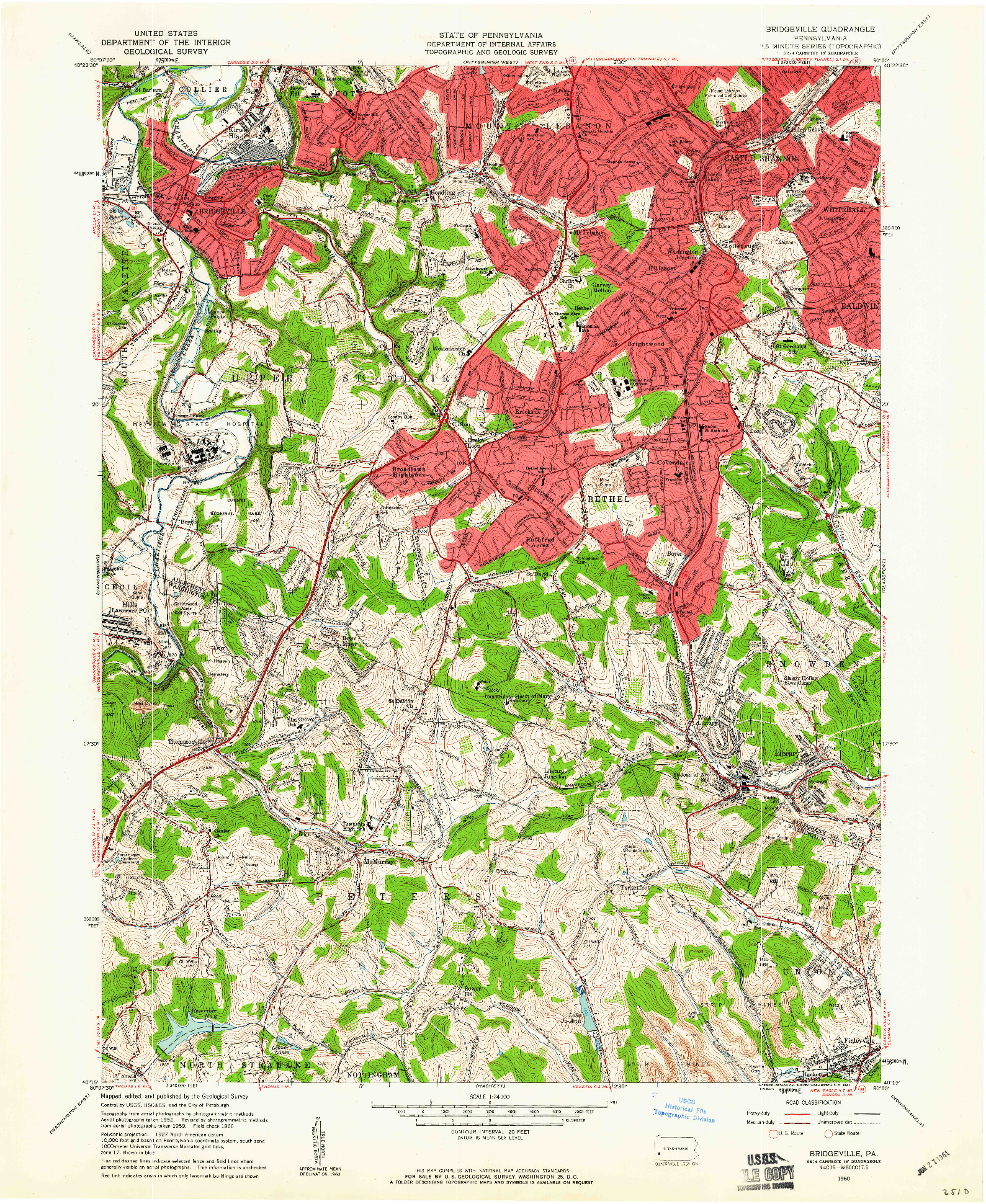USGS 1:24000-SCALE QUADRANGLE FOR BRIDGEVILLE, PA 1960