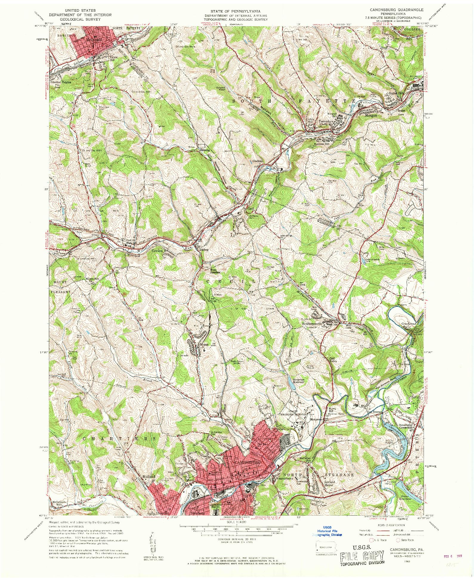 USGS 1:24000-SCALE QUADRANGLE FOR CANONSBURG, PA 1960
