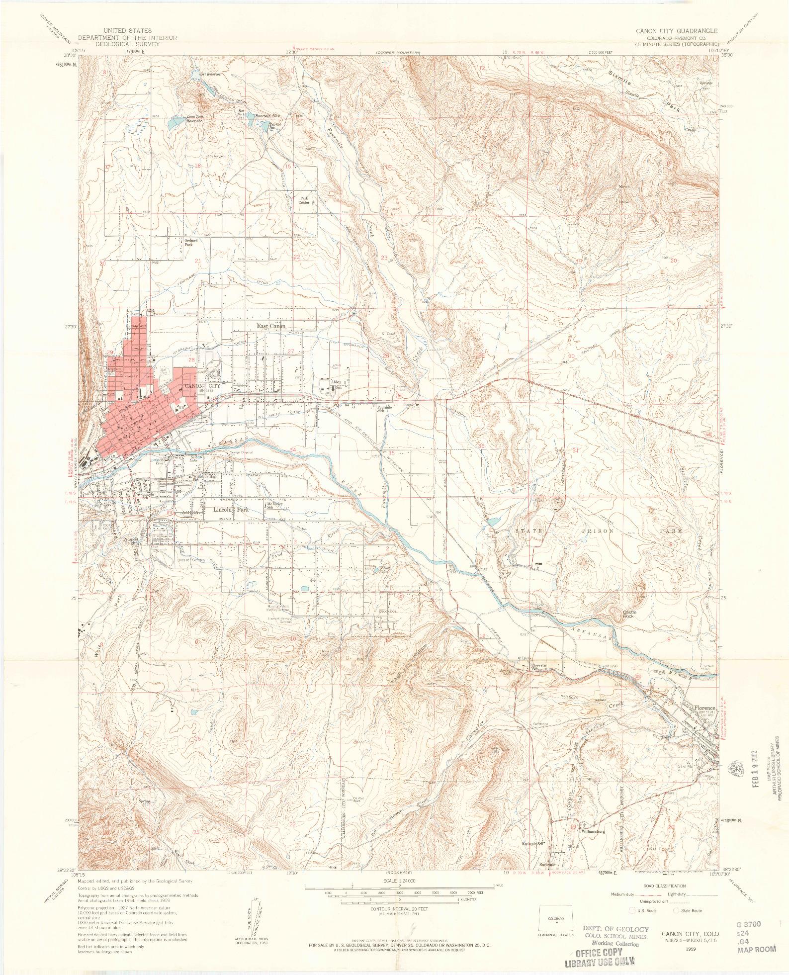 USGS 1:24000-SCALE QUADRANGLE FOR CANON CITY, CO 1959