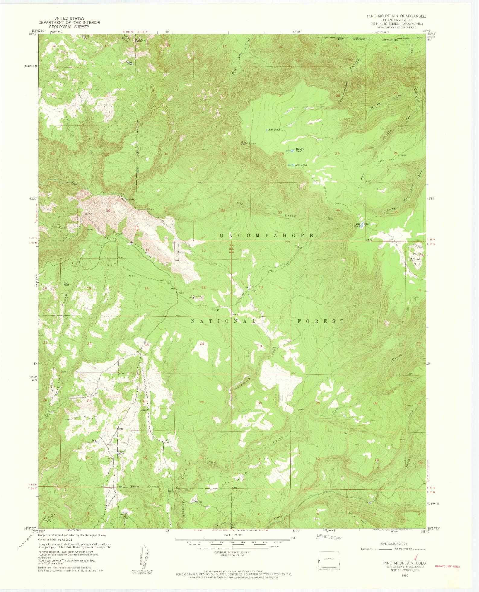 USGS 1:24000-SCALE QUADRANGLE FOR PINE MOUNTAIN, CO 1960