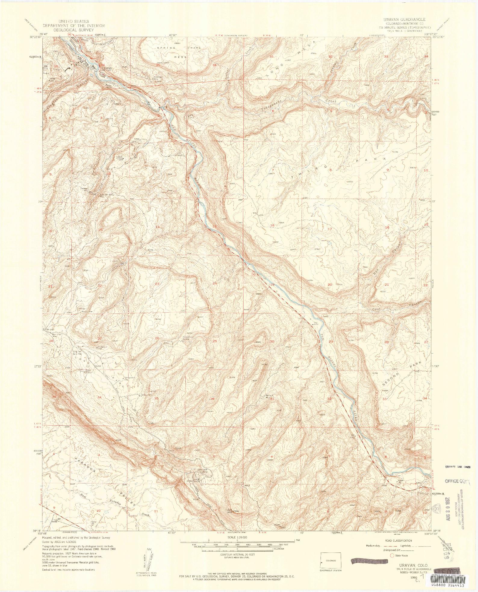 USGS 1:24000-SCALE QUADRANGLE FOR URAVAN, CO 1960