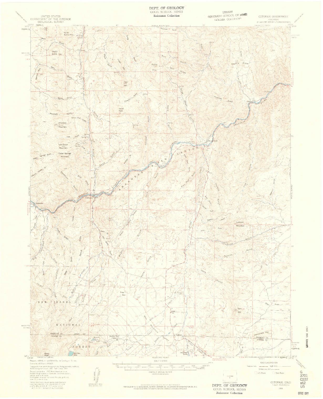 USGS 1:62500-SCALE QUADRANGLE FOR COTOPAXI, CO 1959