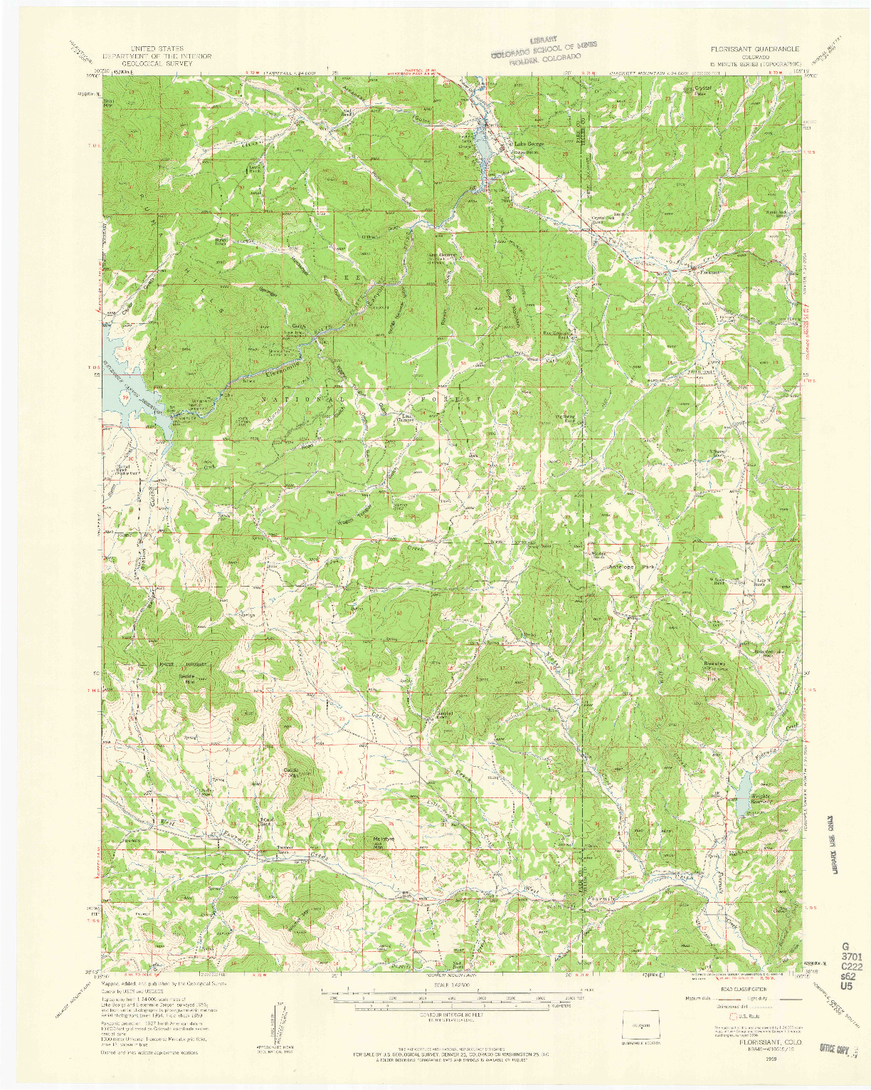 USGS 1:62500-SCALE QUADRANGLE FOR FLORISSANT, CO 1959