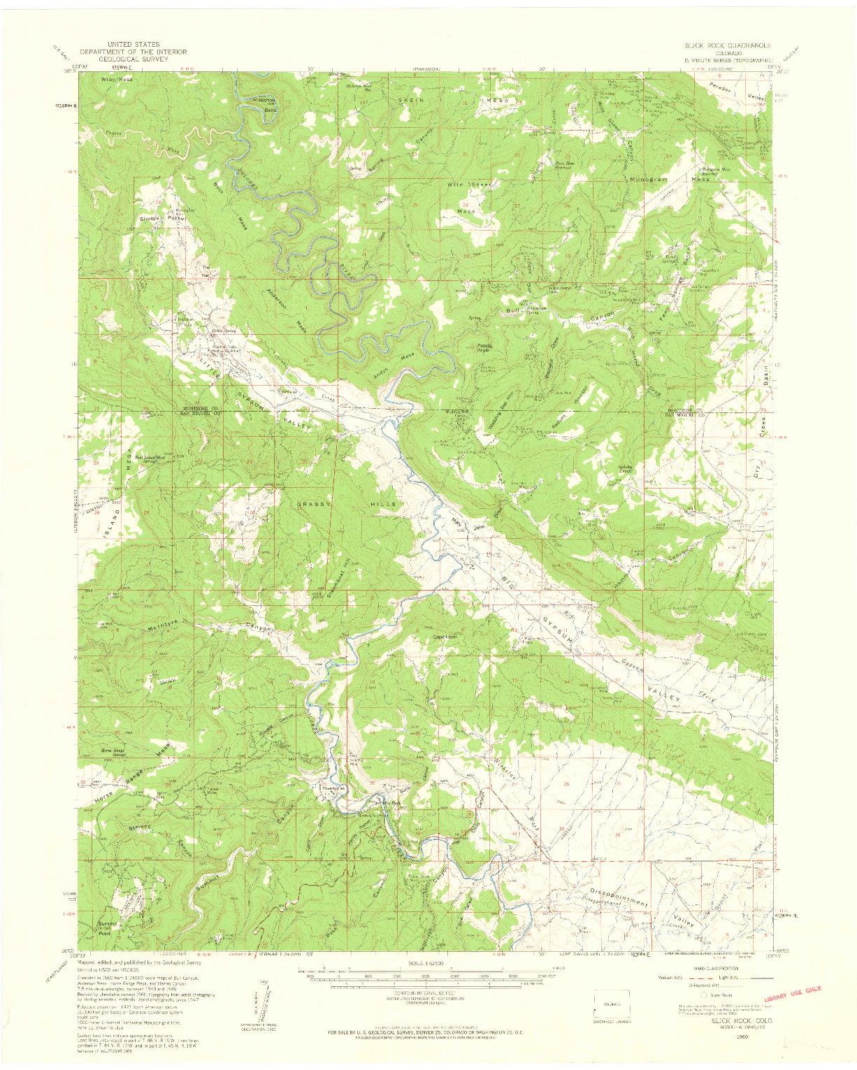 USGS 1:62500-SCALE QUADRANGLE FOR SLICK ROCK, CO 1960